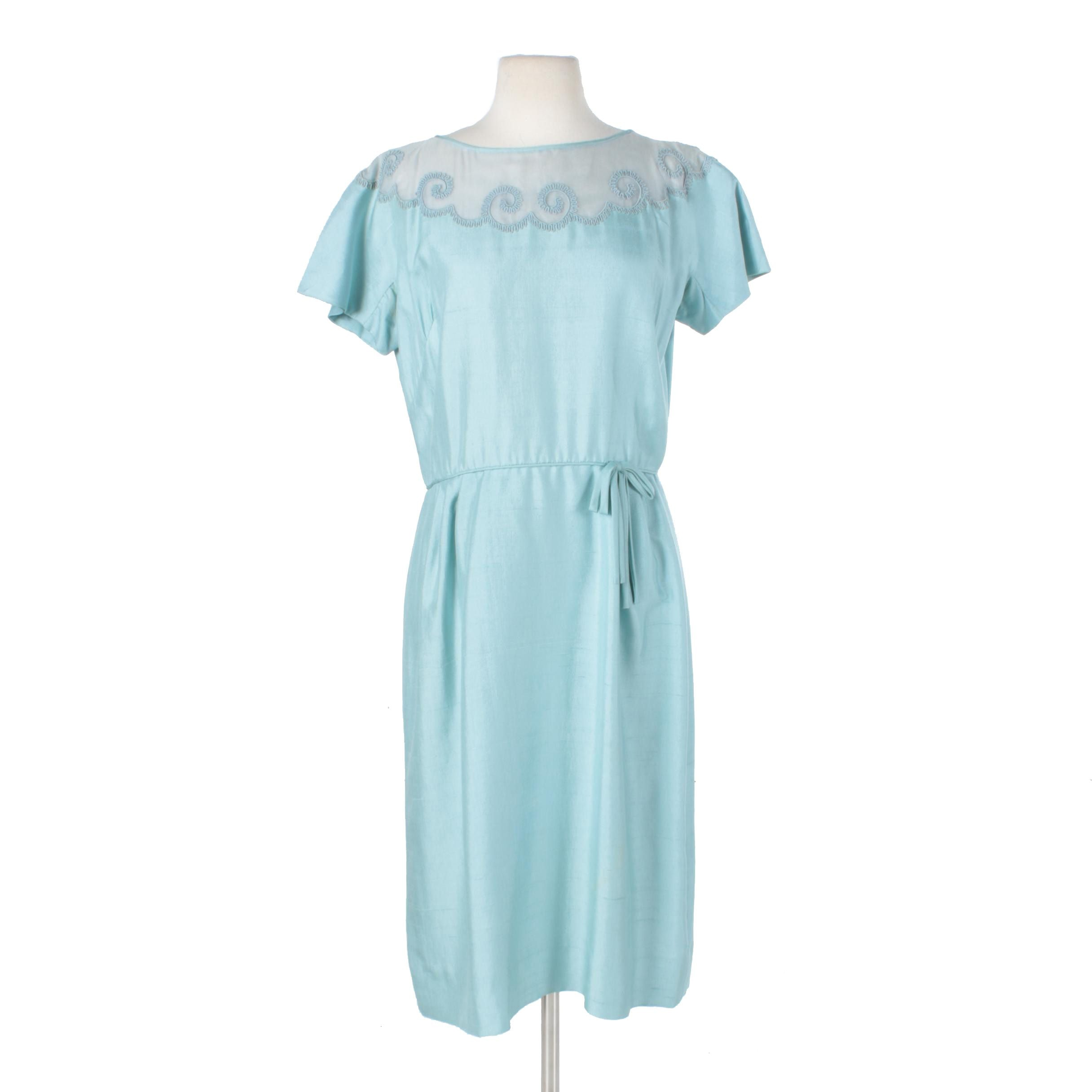 1950s Aquamarine Dupioni Silk and Lace Cocktail Dress