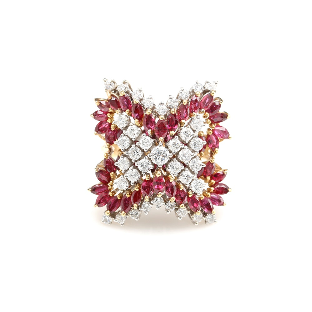 14K Yellow Gold 2.00 CTW Diamond and Ruby Cocktail Ring