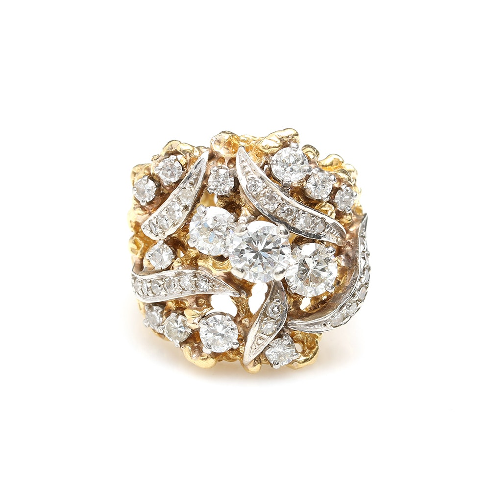 18K Yellow Gold 2.20 CTW Diamond Ring