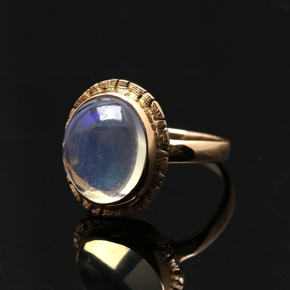 14K Yellow Gold Rainbow Moonstone Ring