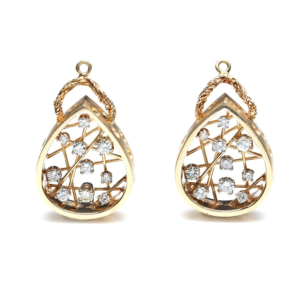 14K Yellow Gold 1.50 CTW Diamond Earring Jackets