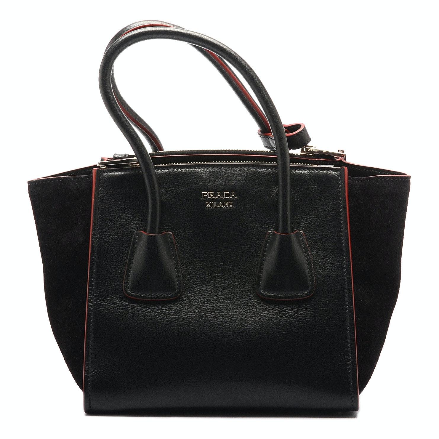 Prada Glace Twin Pocket Leather Handbag