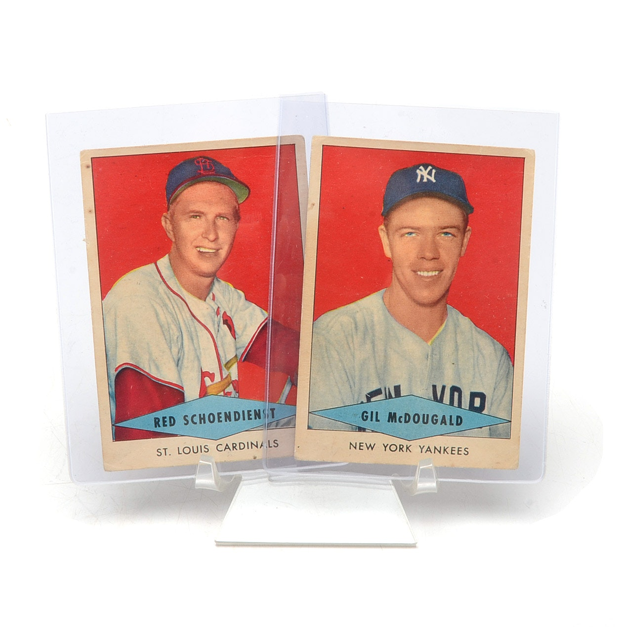 McDougald and Schoendienst 1954 Red Heart Cards