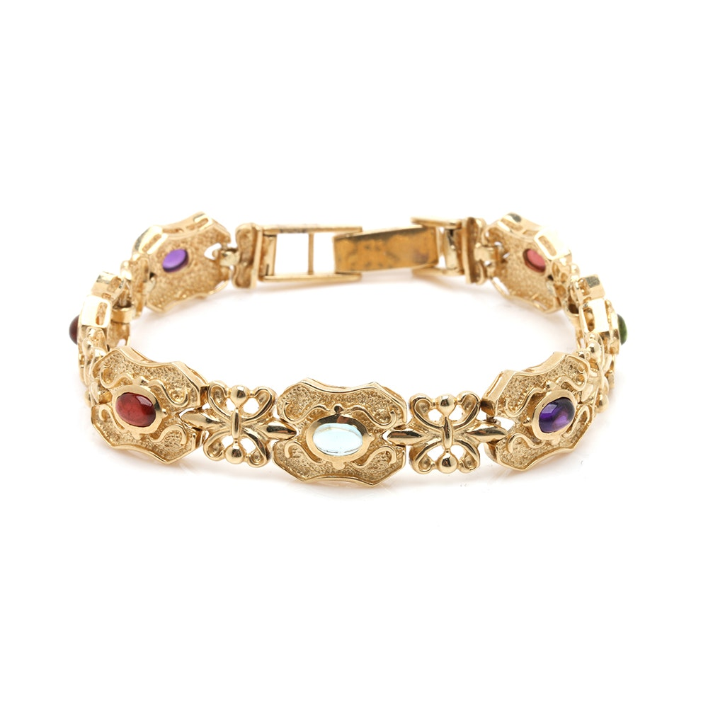 14K Yellow Gold Multi-Gemstone Fancy Link Bracelet