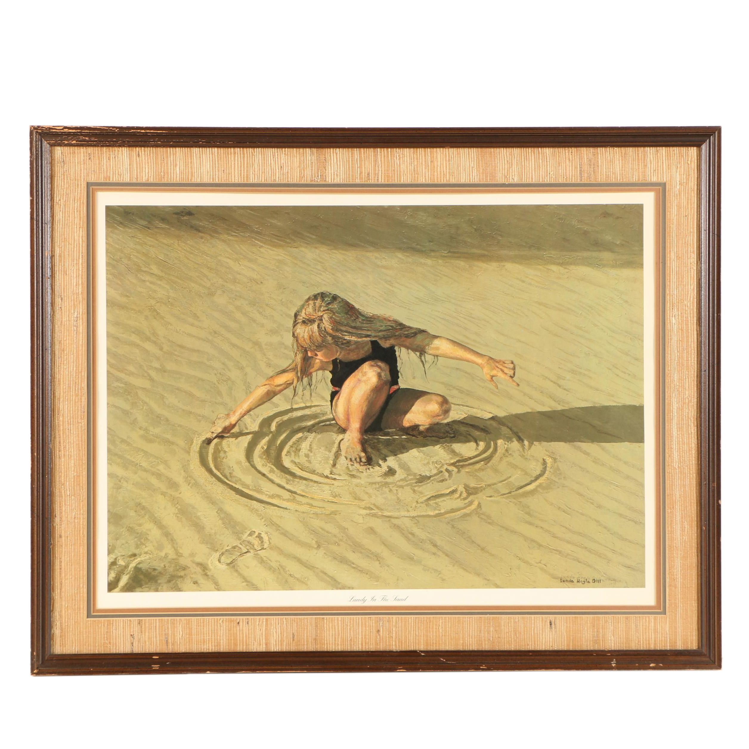 """Lunda Hoyle Gill Limited Edition Offset Lithograph """"Lundy in the Sand"""""""