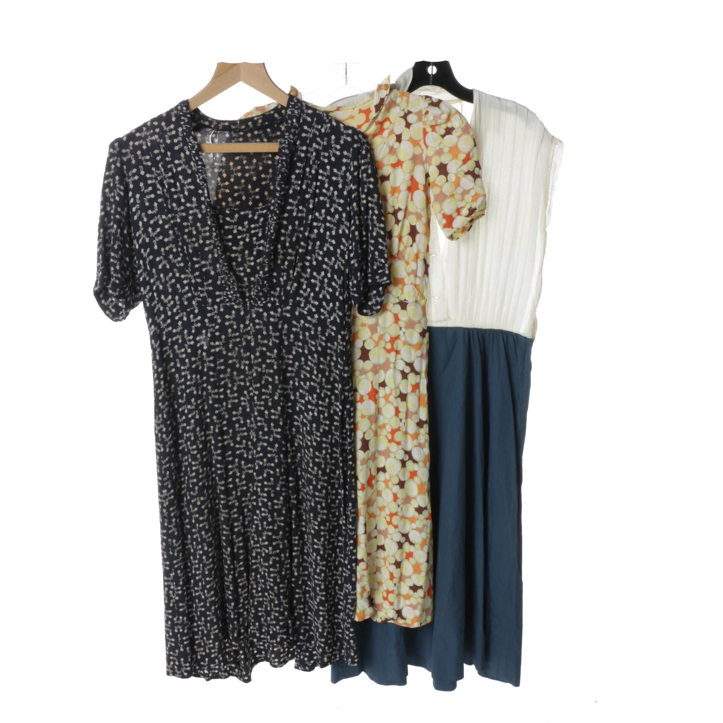 1930s Colorful Print Day Dresses