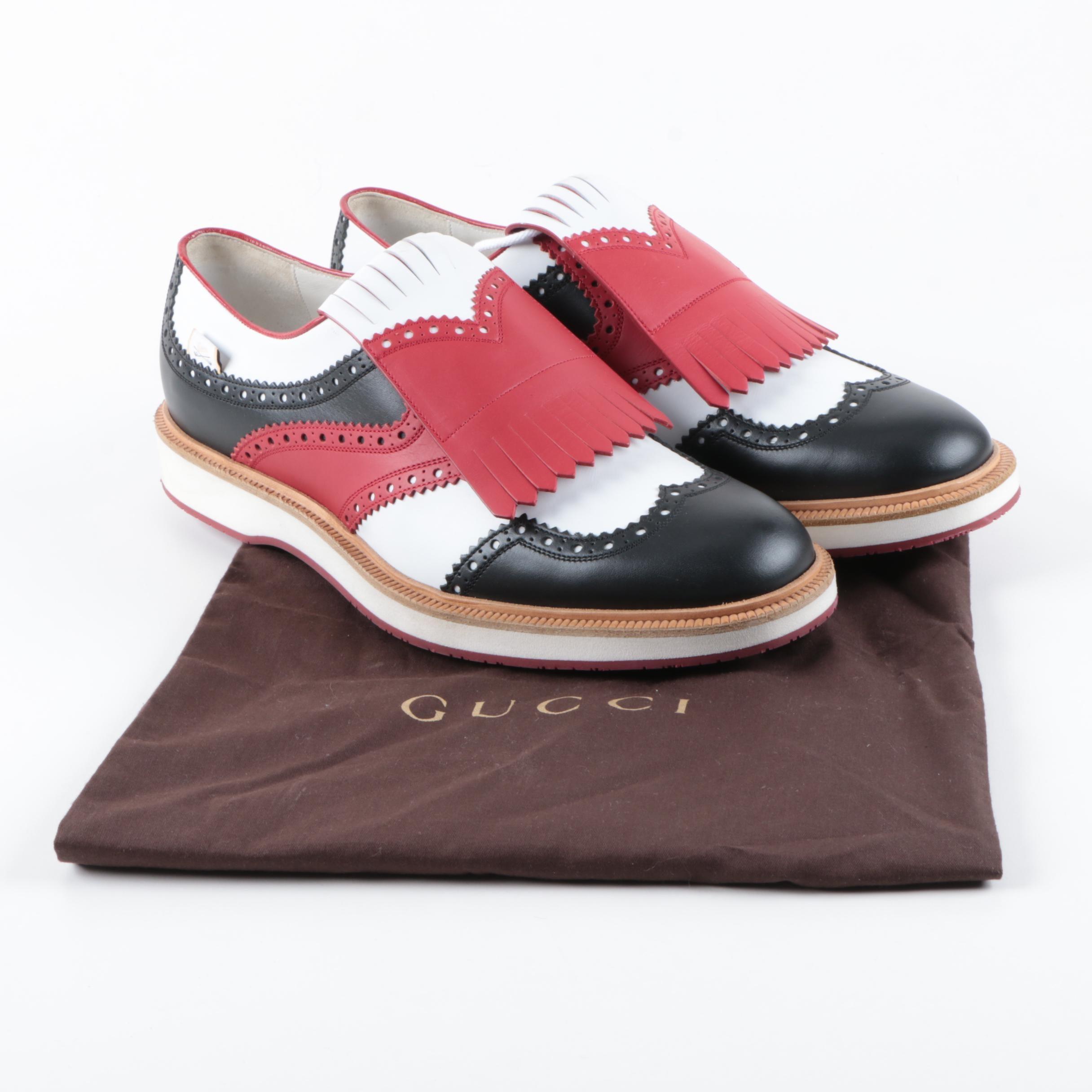 Men's Gucci Color Block Wingtip Golf Shoes