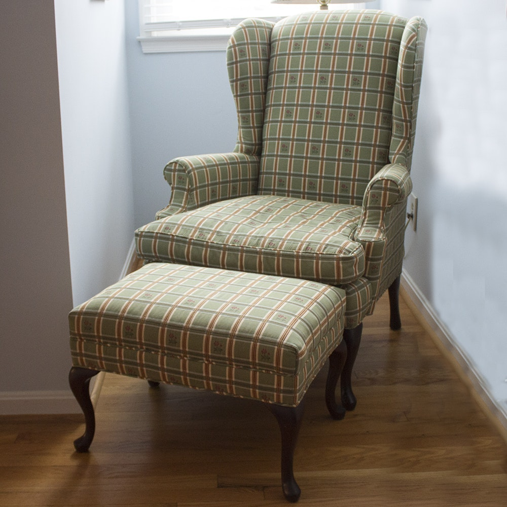 Wingback Chair and Ottoman by Pearson