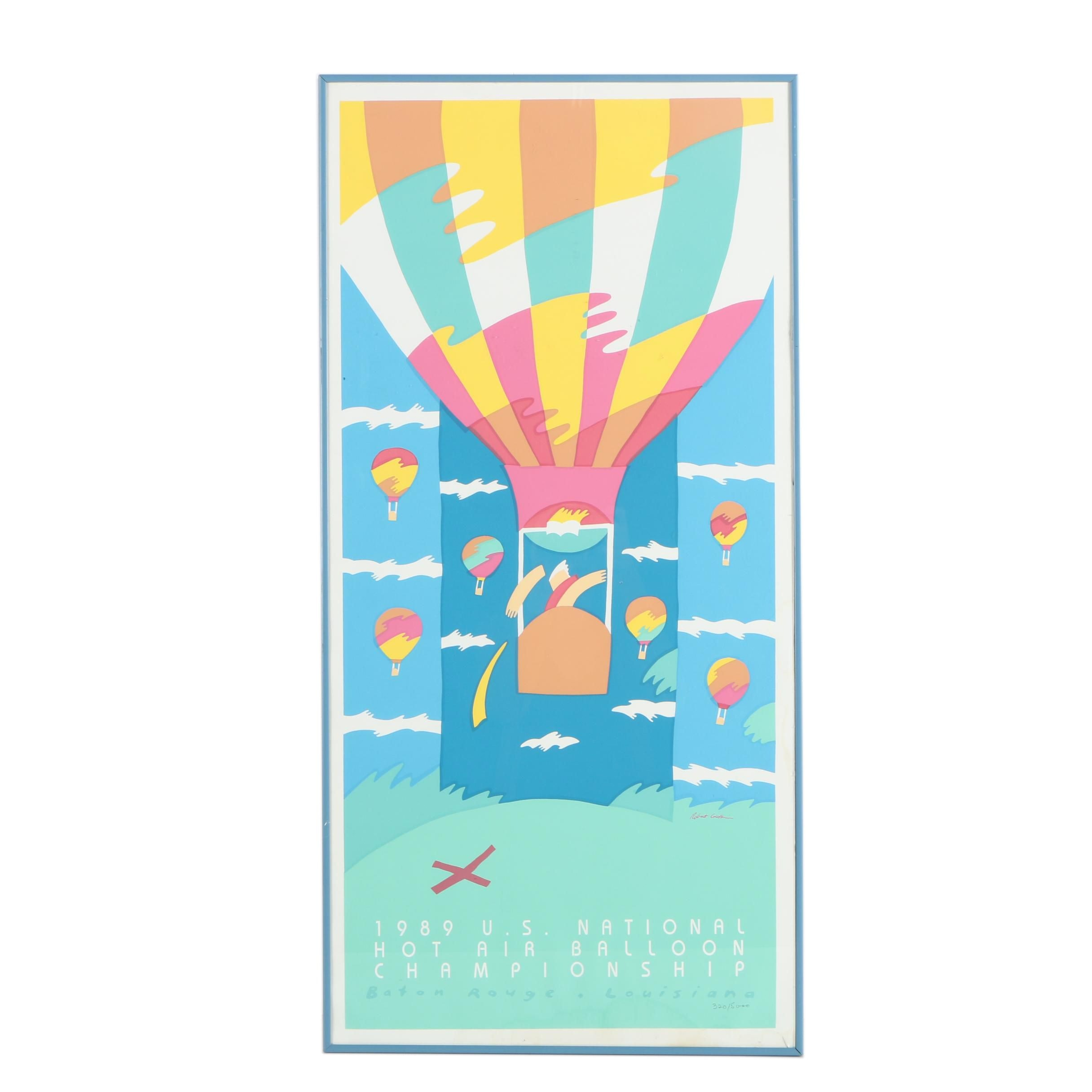 Robert Guthrie Serigraph Poster for 1989 Hot Air Balloon Competition