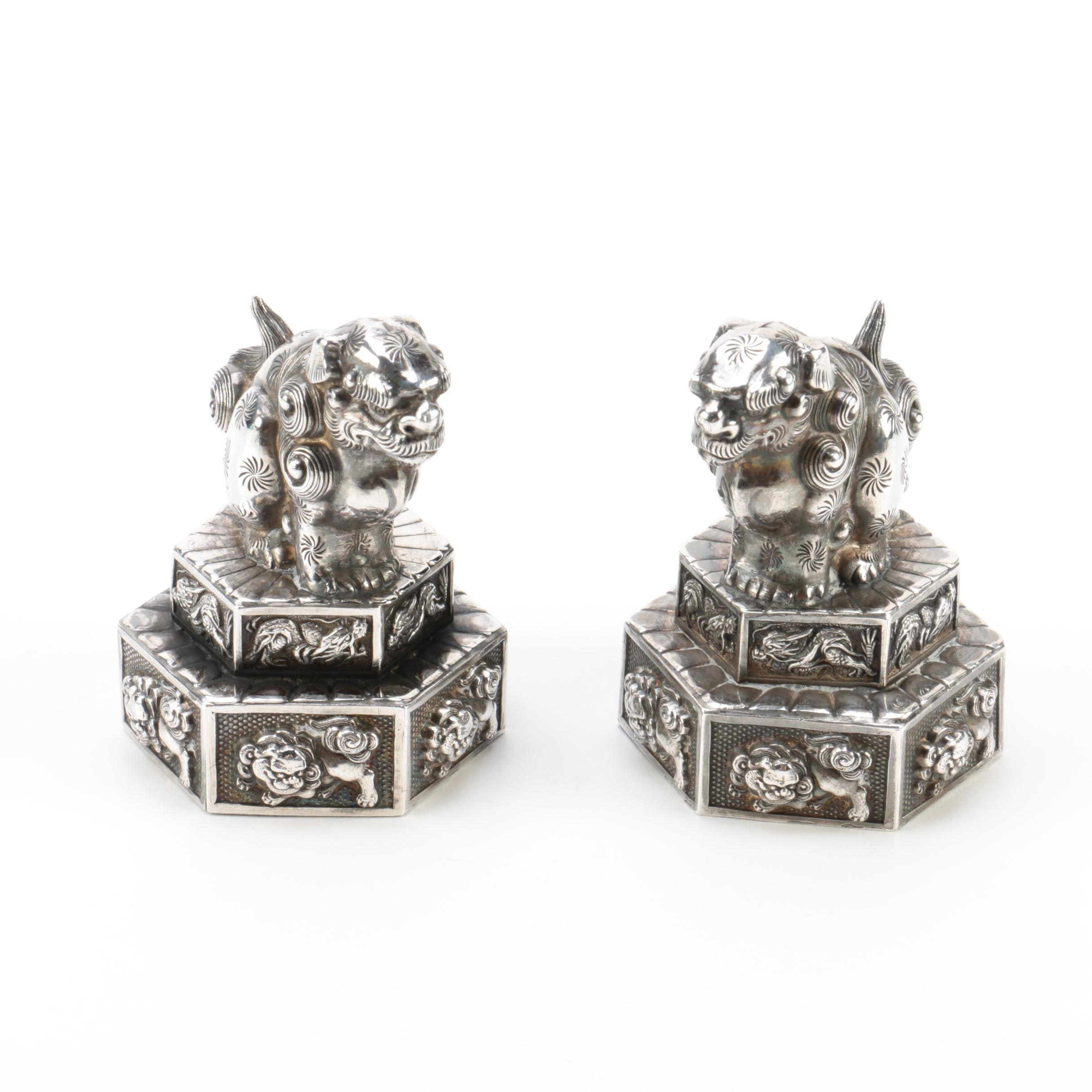 Sterling Silver Chinese Guardian Lion Salt and Pepper Shakers