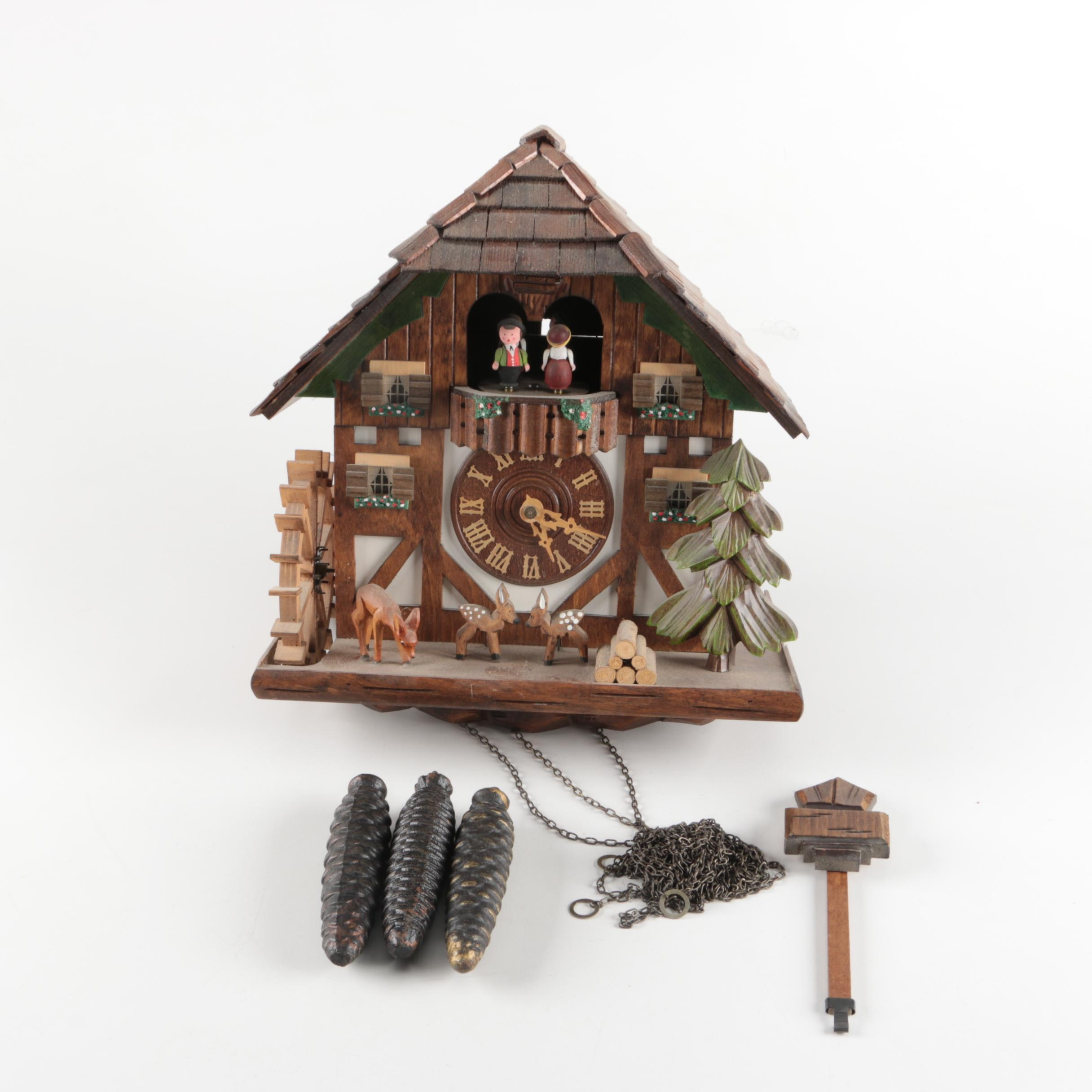 Vintage Black Forest Clock With People and Animals