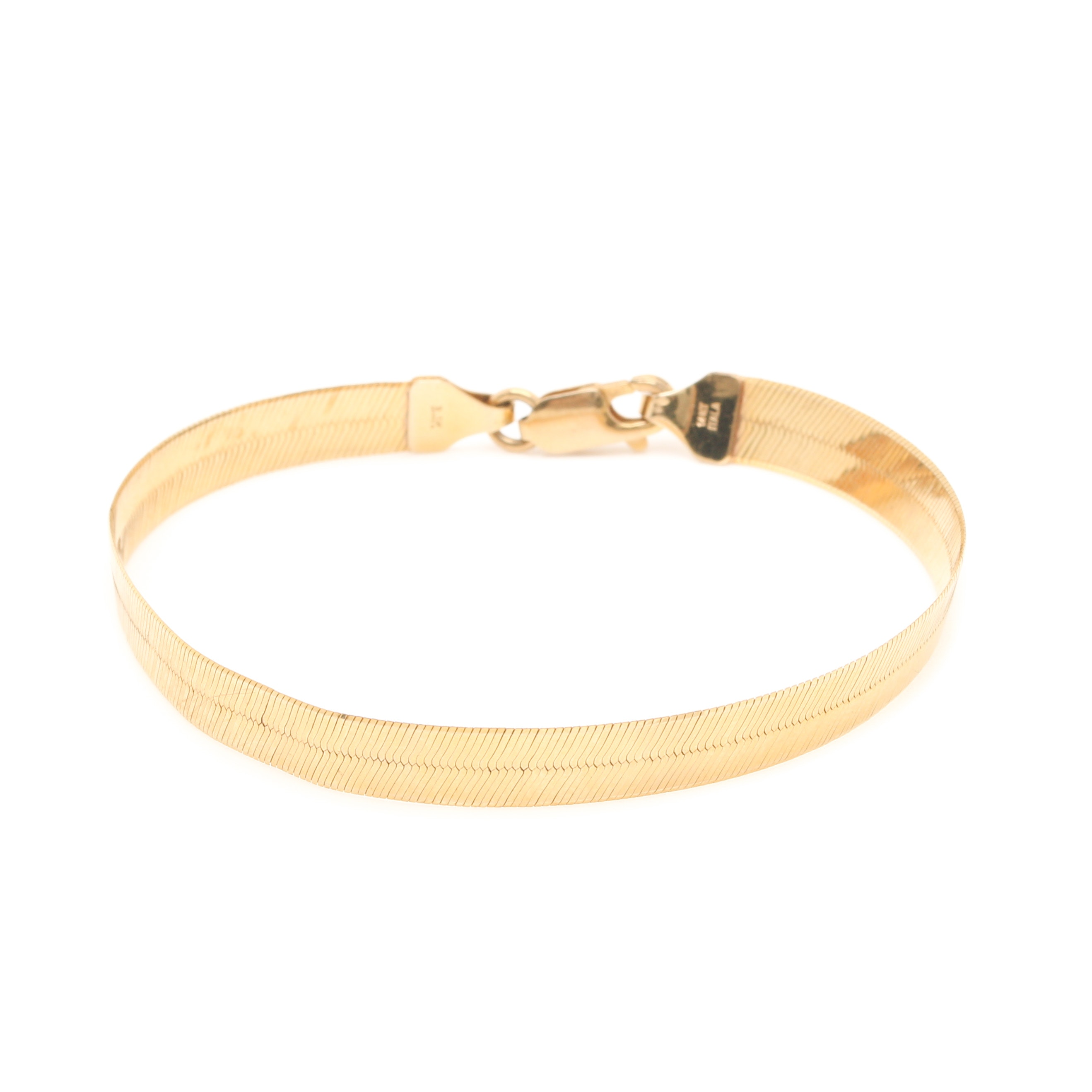 14K Yellow Gold Herringbone Bracelet
