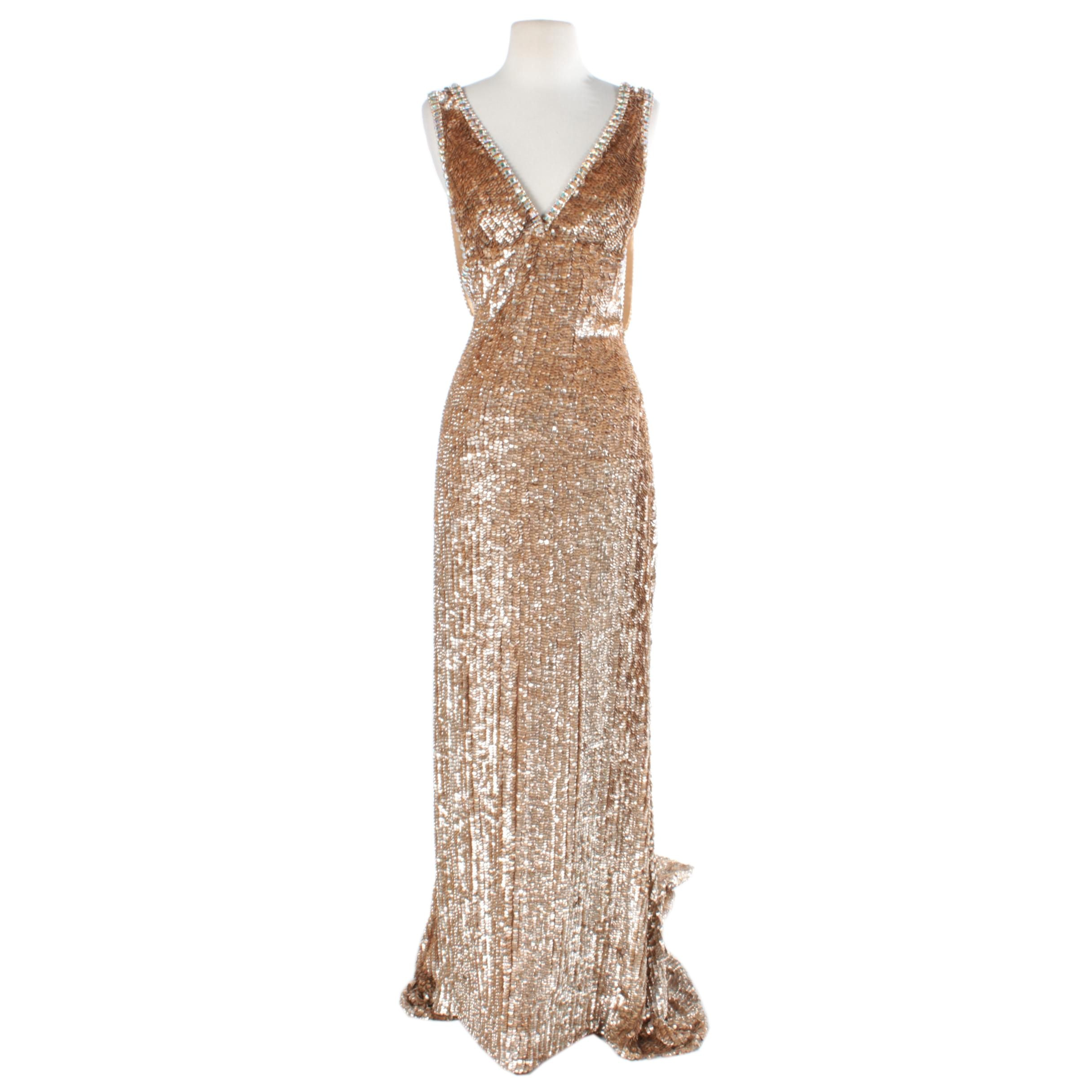Gold Tone Beaded Sleeveless Evening Gown