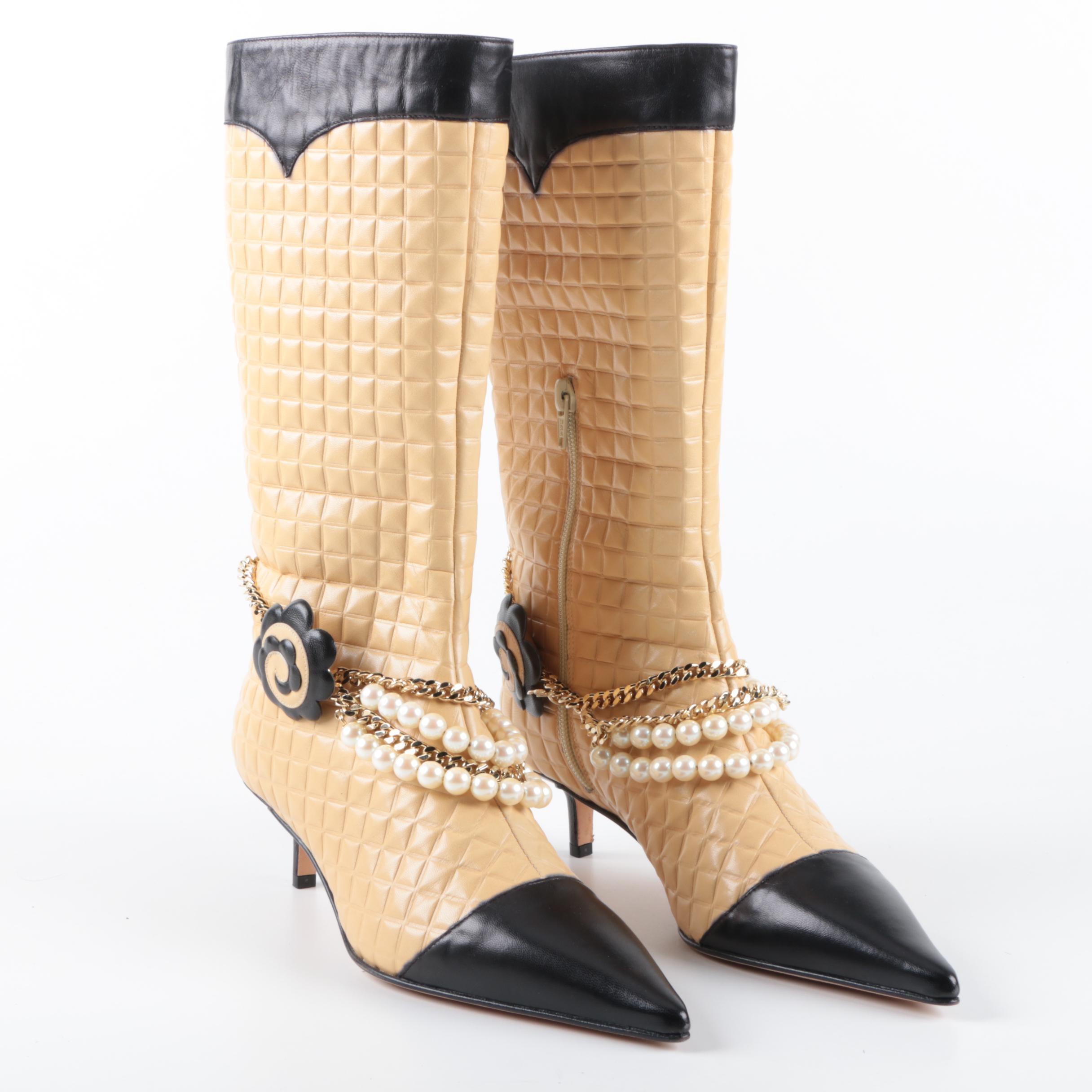 Chanel Camelia Chain CC Boots