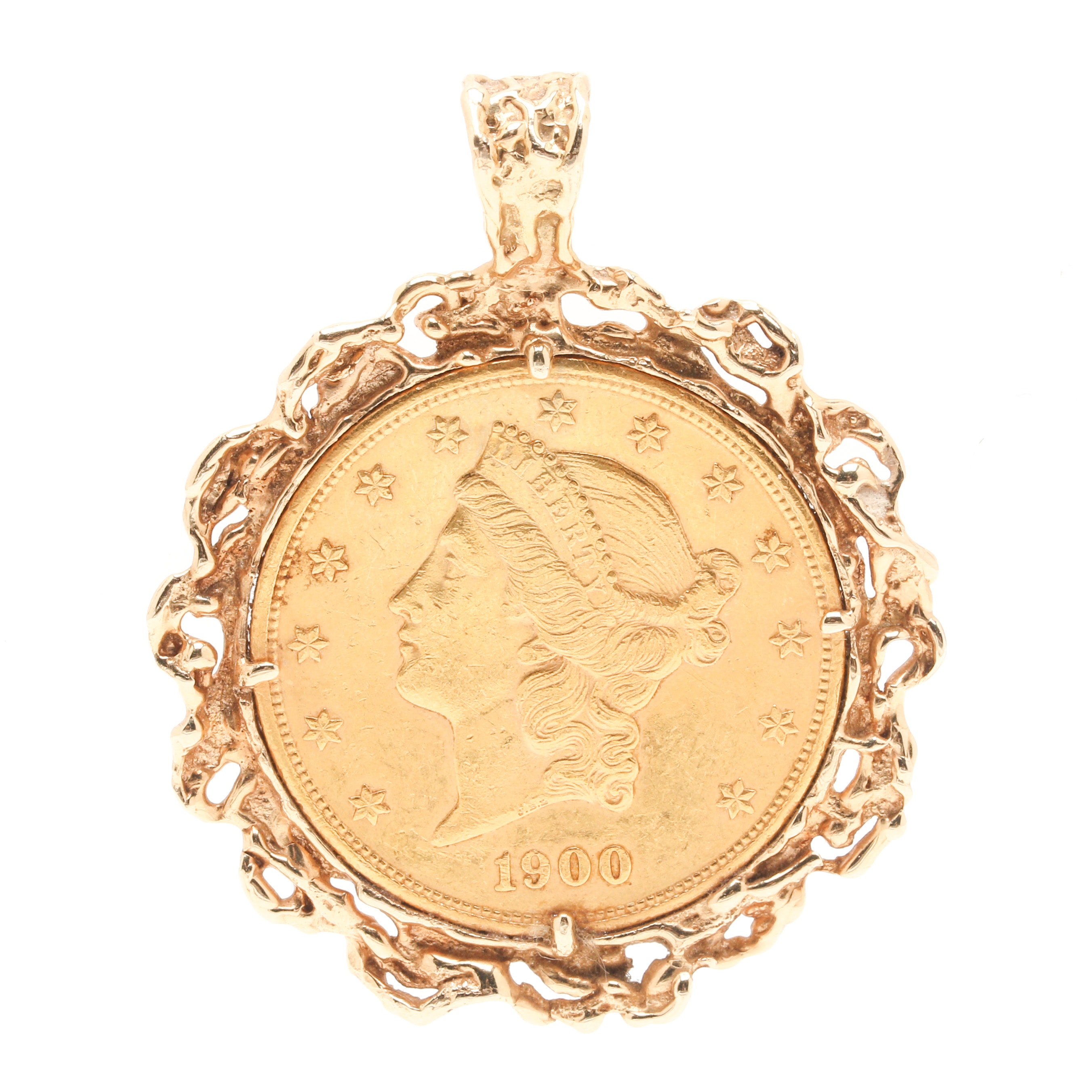 1900 James Barton Longacre 14K and 22K Yellow Gold Liberty Head $20 Coin Pendant