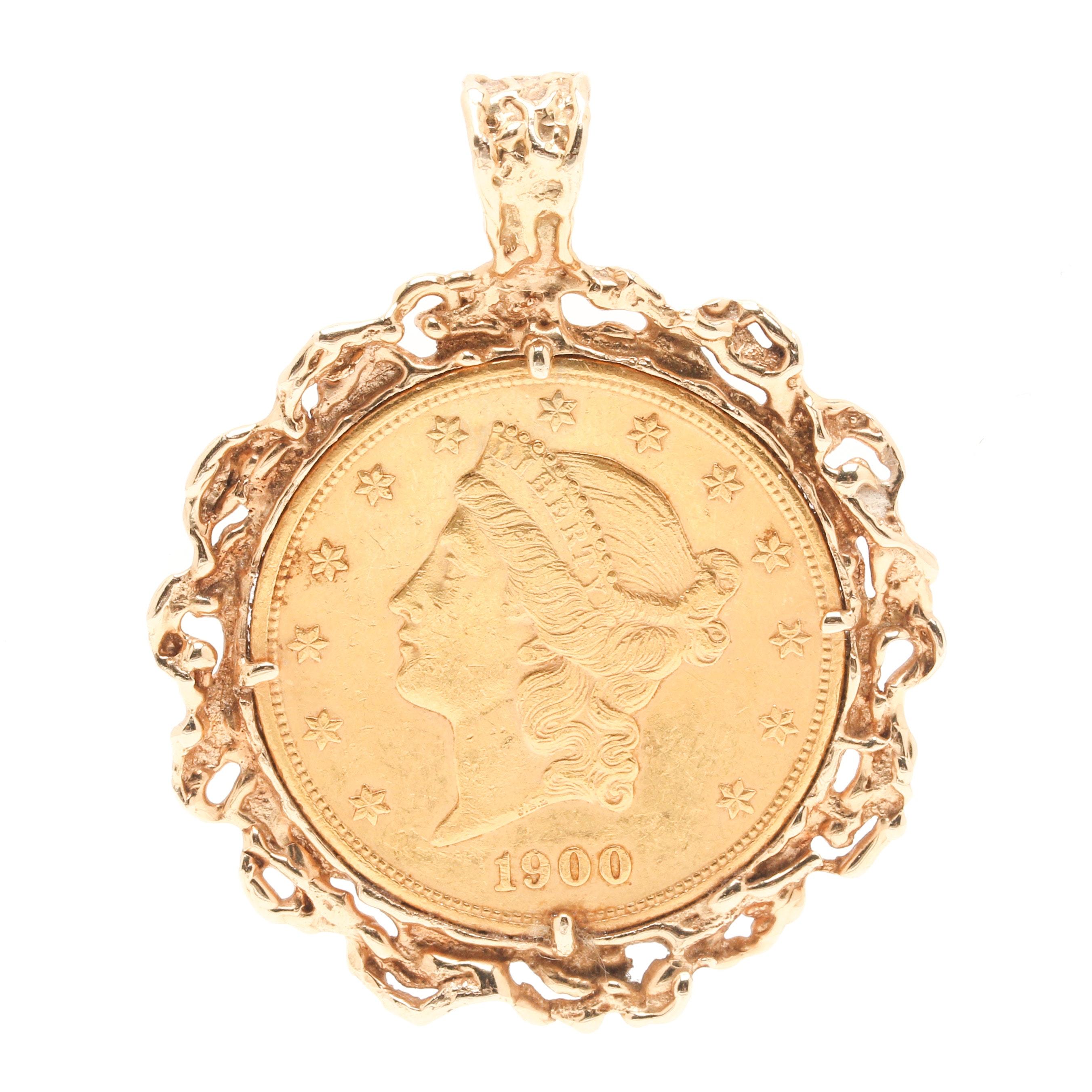 1900 James Barton Longacre 14K and 22K Yellow Gold Liberty Head $20 Coin Pendant