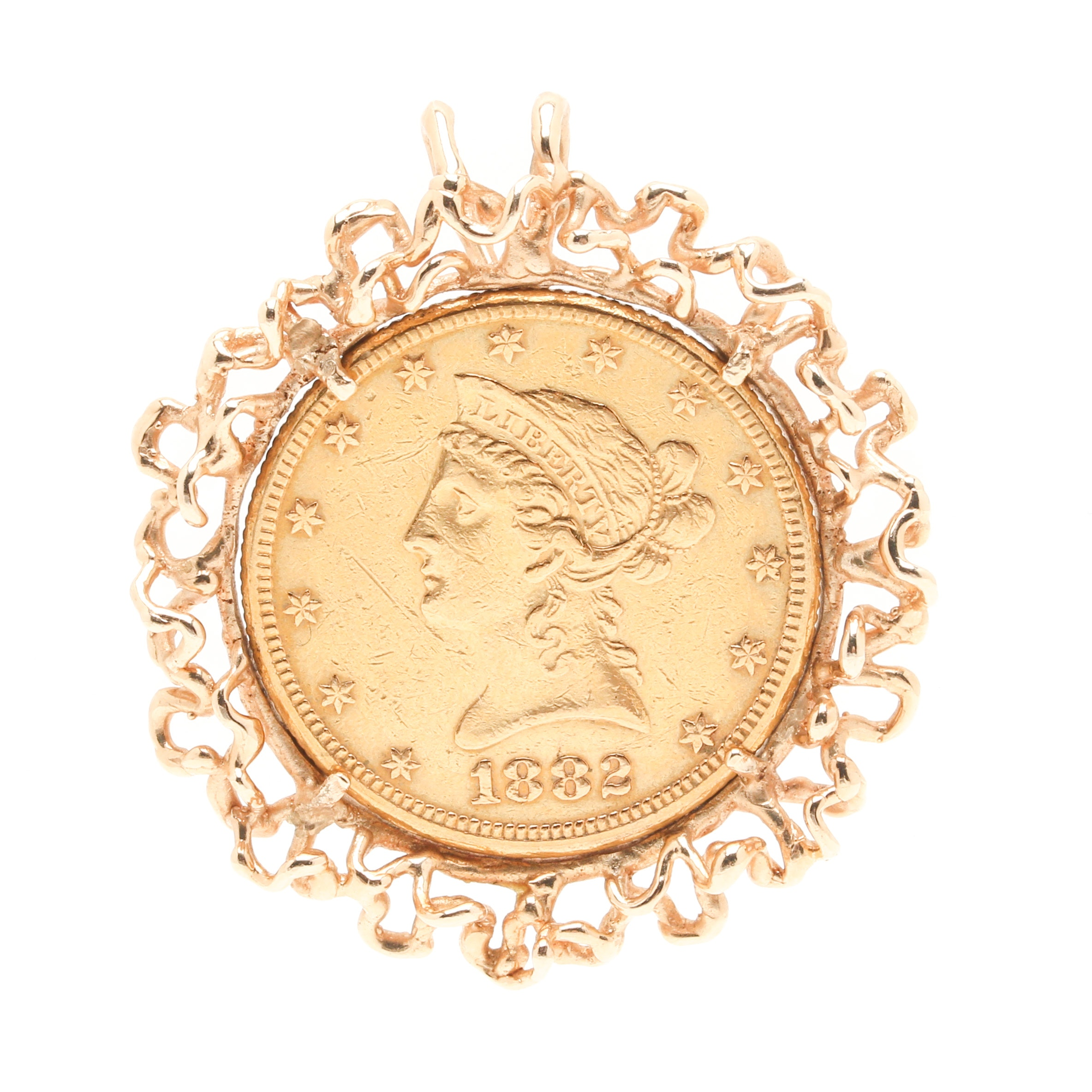 Christian Gobrecht 1882 $10 Liberty Head 22K and 14K Yellow Gold Coin Pendant