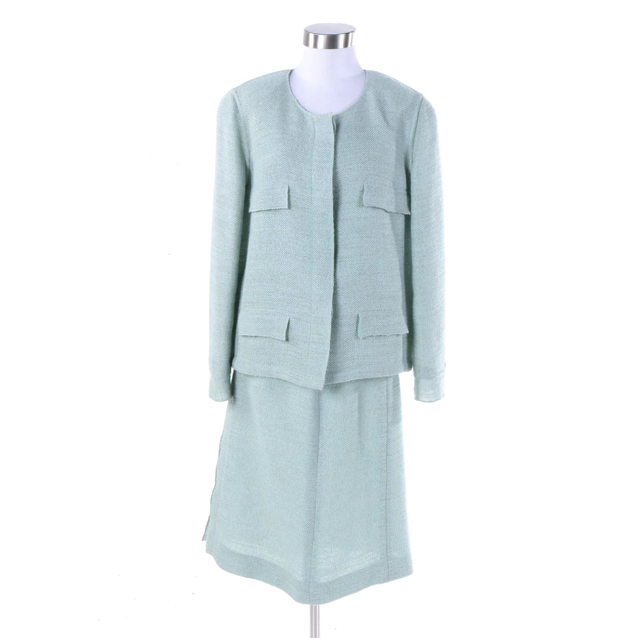 Women's Chanel Boucle Wool Blend Skirt Suit