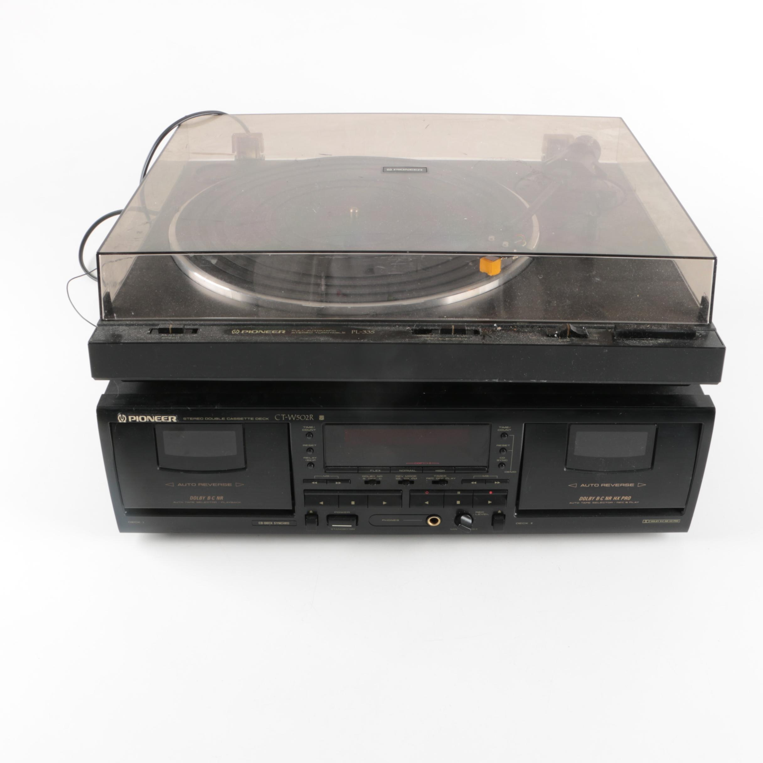 Pioneer CT-W502R Stereo Cassette Deck and PL-335 Stereo Turntable
