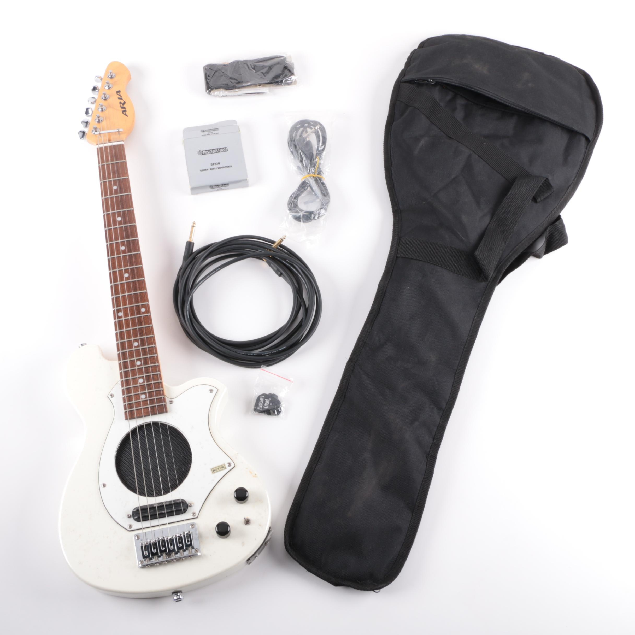 Aria Built-In Speaker Electric Guitar With Gig Bag, Tuner and Mogami Cable