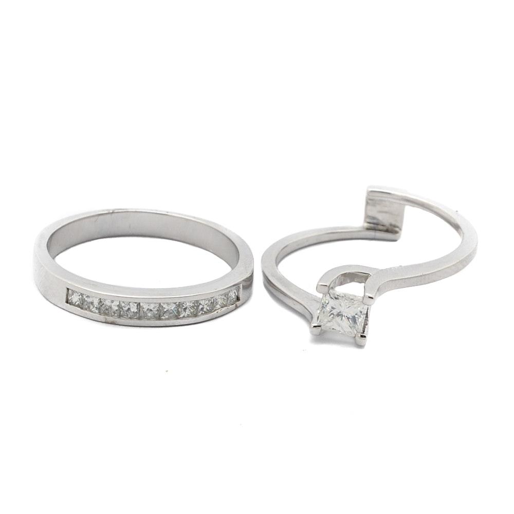 Kobelli 14K White Gold 1.10 CTW Princess Cut Diamond Bridal Set
