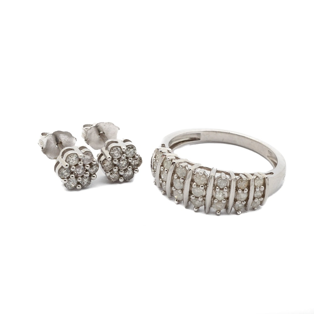 Sterling Silver 0.98 CTW Diamond Ring and Earrings