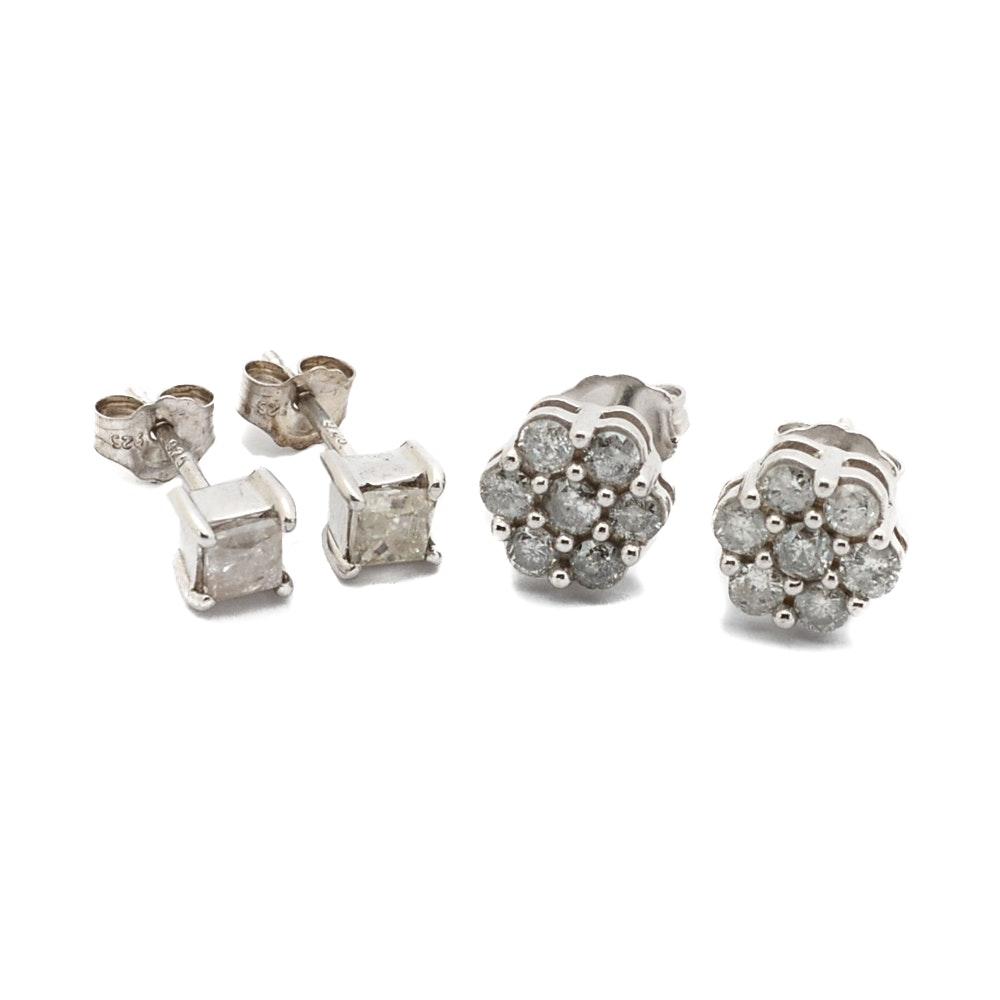 Sterling Silver 1.32 CTW Diamond Earrings