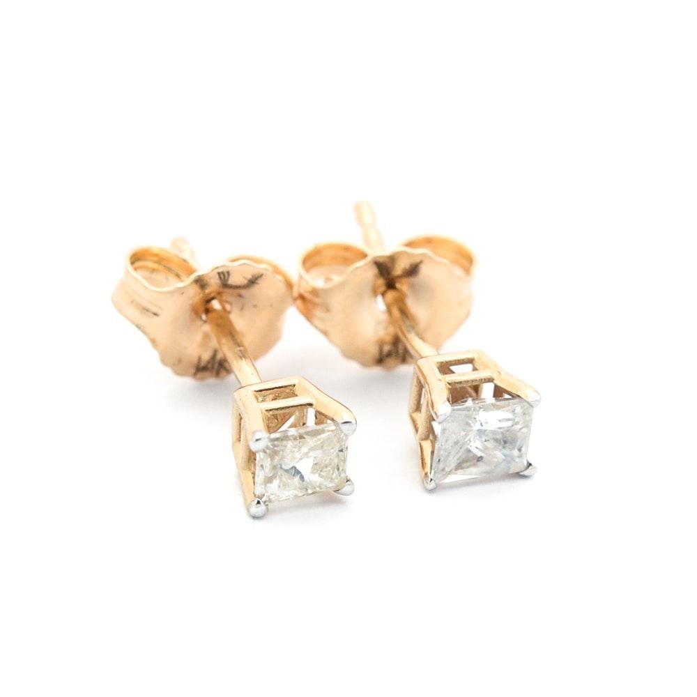 14K Yellow Gold Princess Cut Diamond Stud Earrings