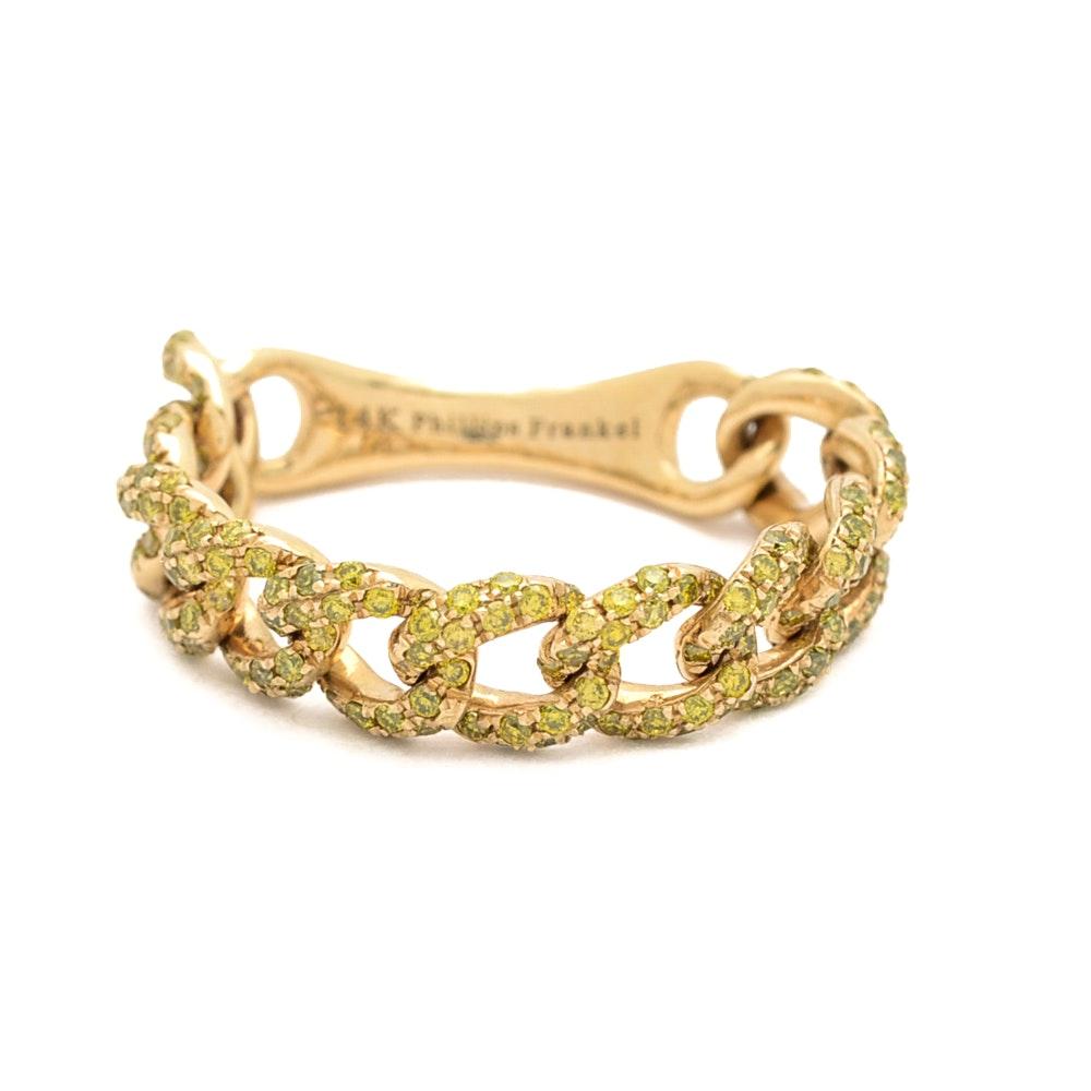 "Phillips Frankel 14K Yellow Gold ""Vibrant Affair"" Yellow Diamond Chain Link Ring"