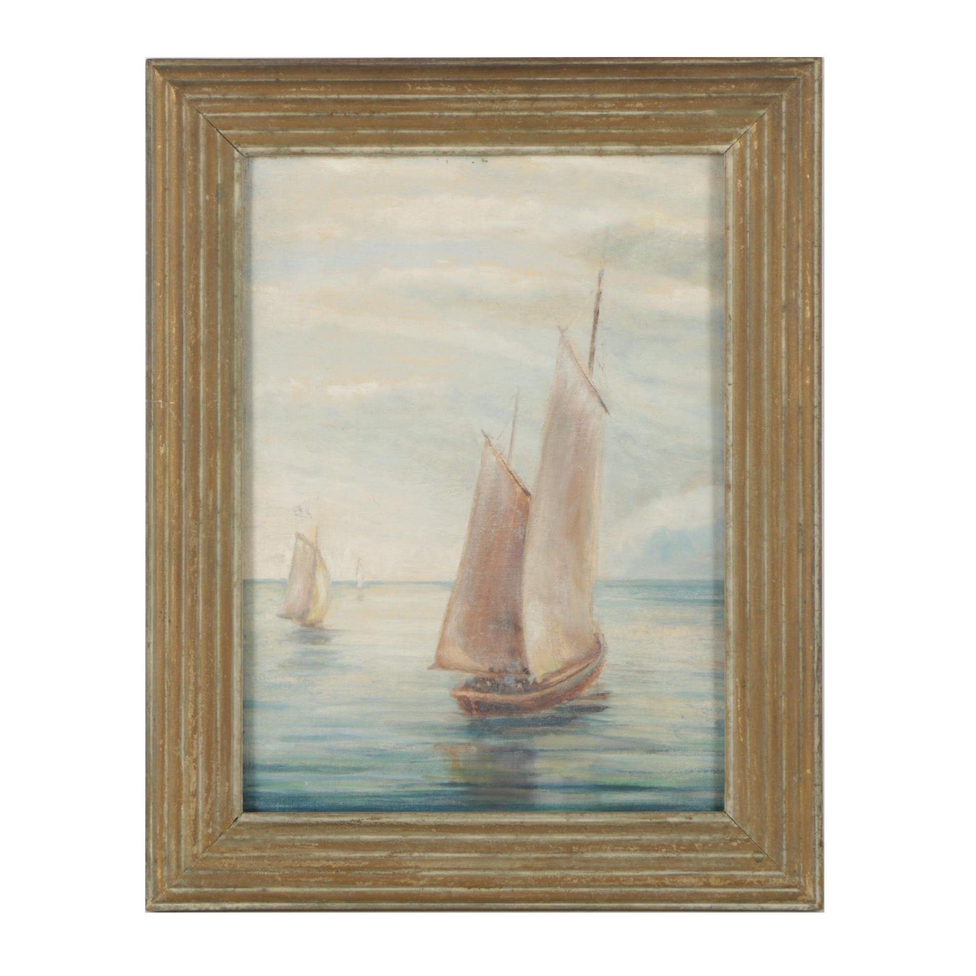 "Oil Painting Attributed to Gertrude Harbart ""Sails"""