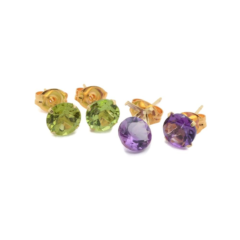 10K Yellow Gold Amethyst and Peridot Earrings