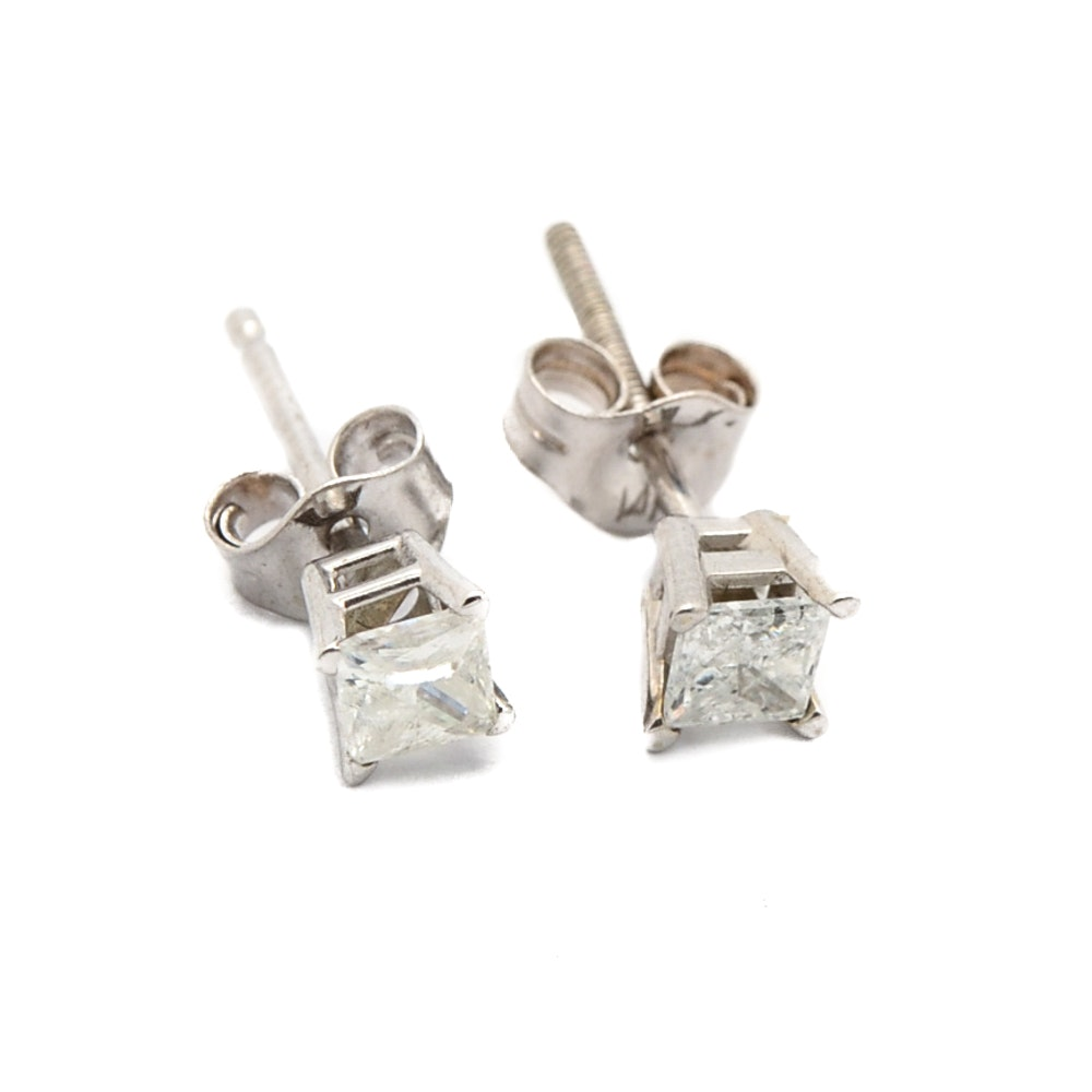 14K and 18K White Gold Single Princess Cut Diamond Stud Earrings