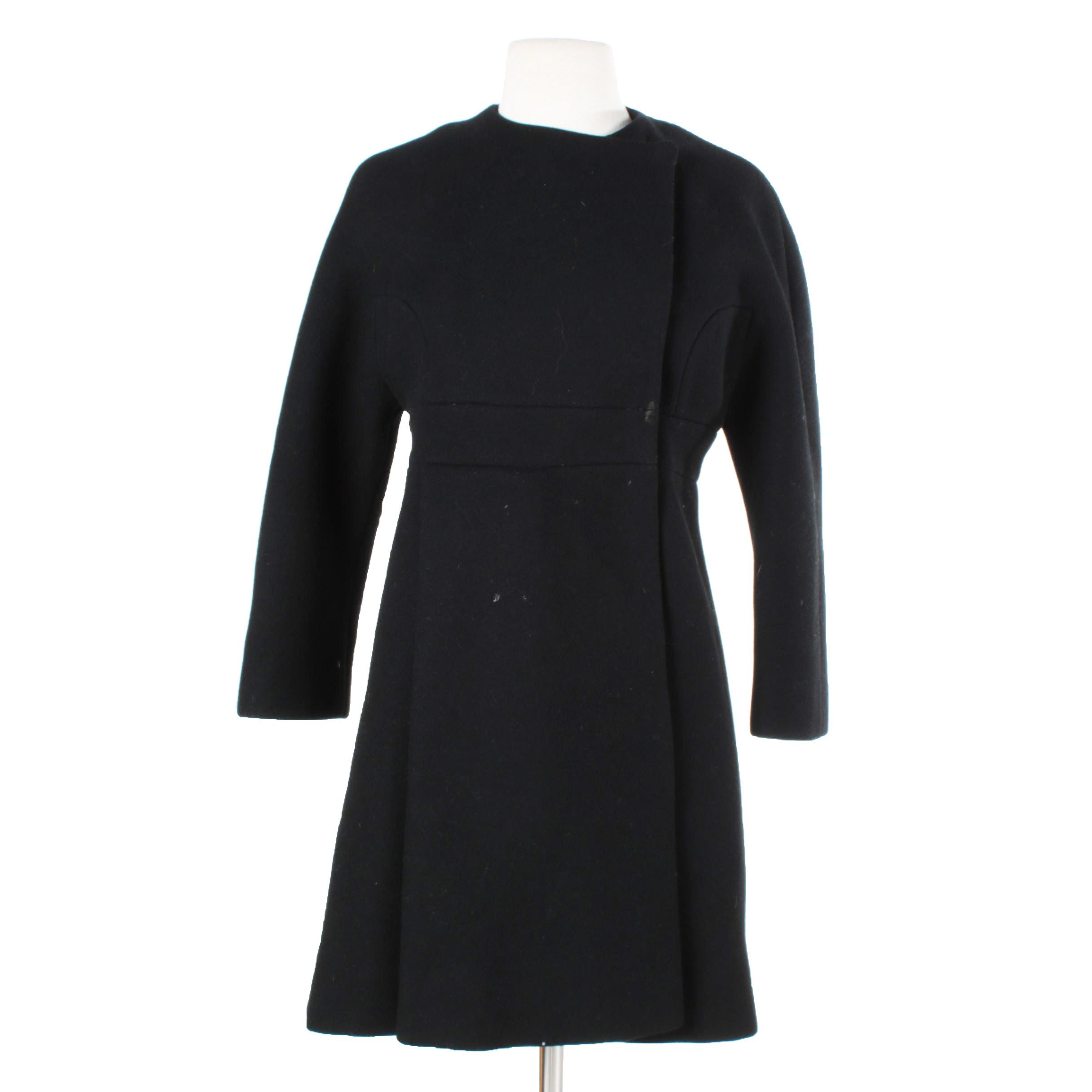 1960s Saks Fifth Avenue Black Wool Mod Coat