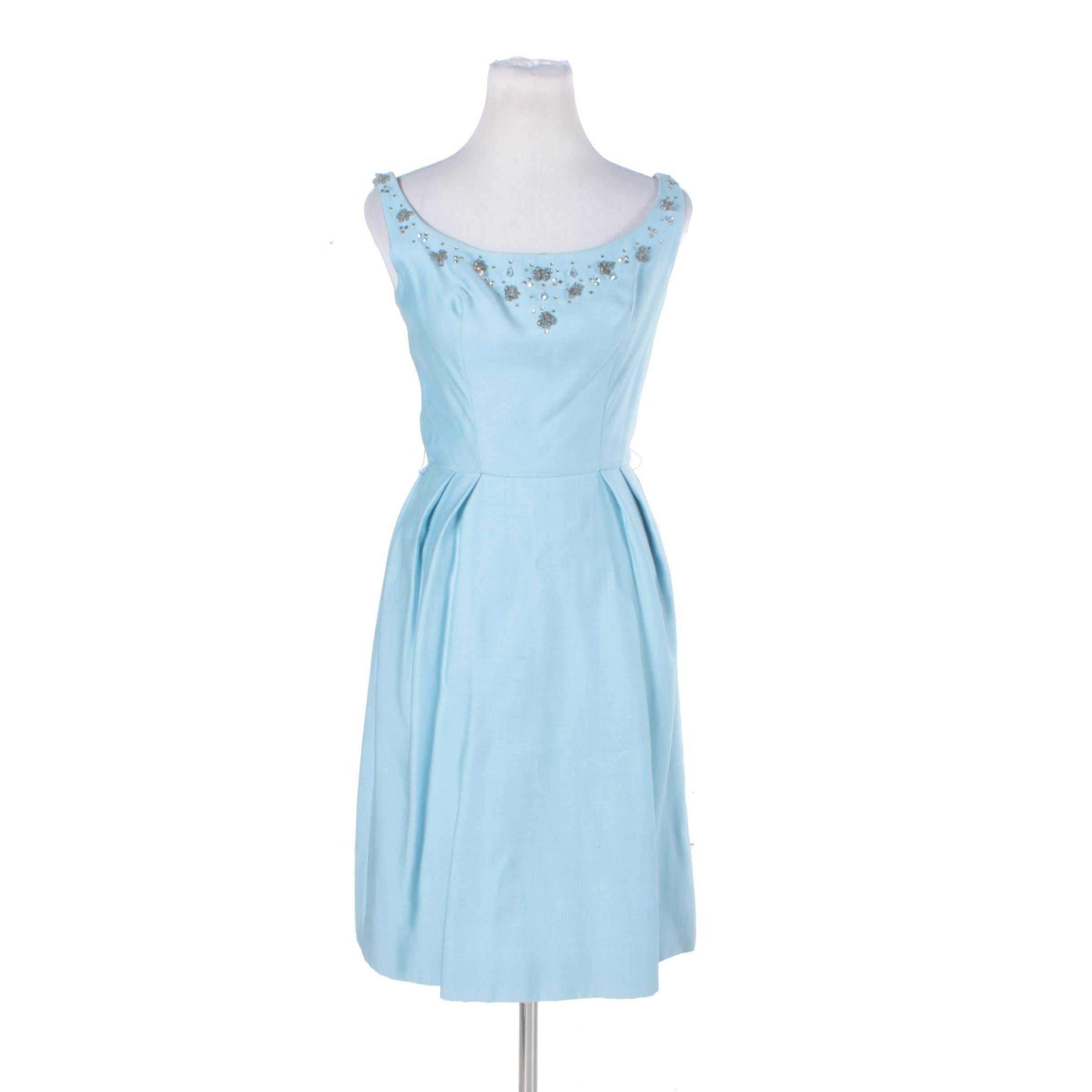 1960s Mardi Gras Sky Blue Beaded Cocktail Dress