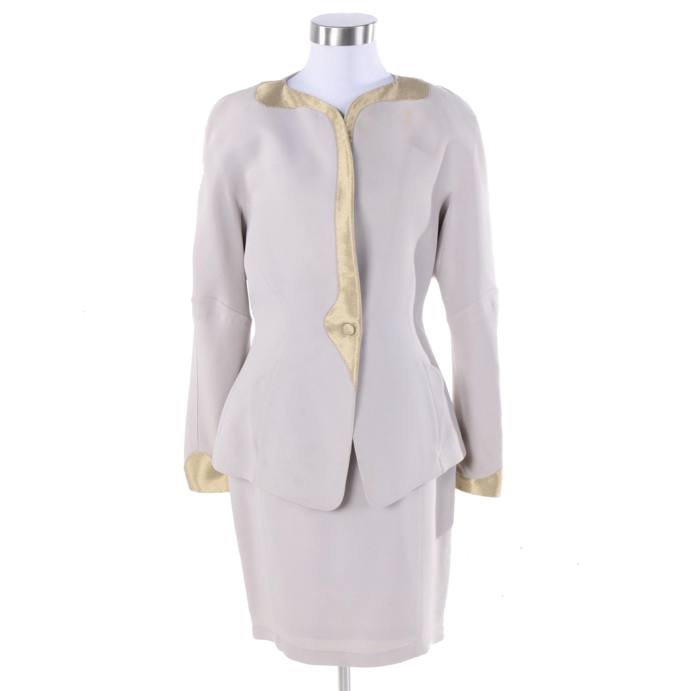 1980s Thierry Mugler Gold and Blush Skirt Suit Set