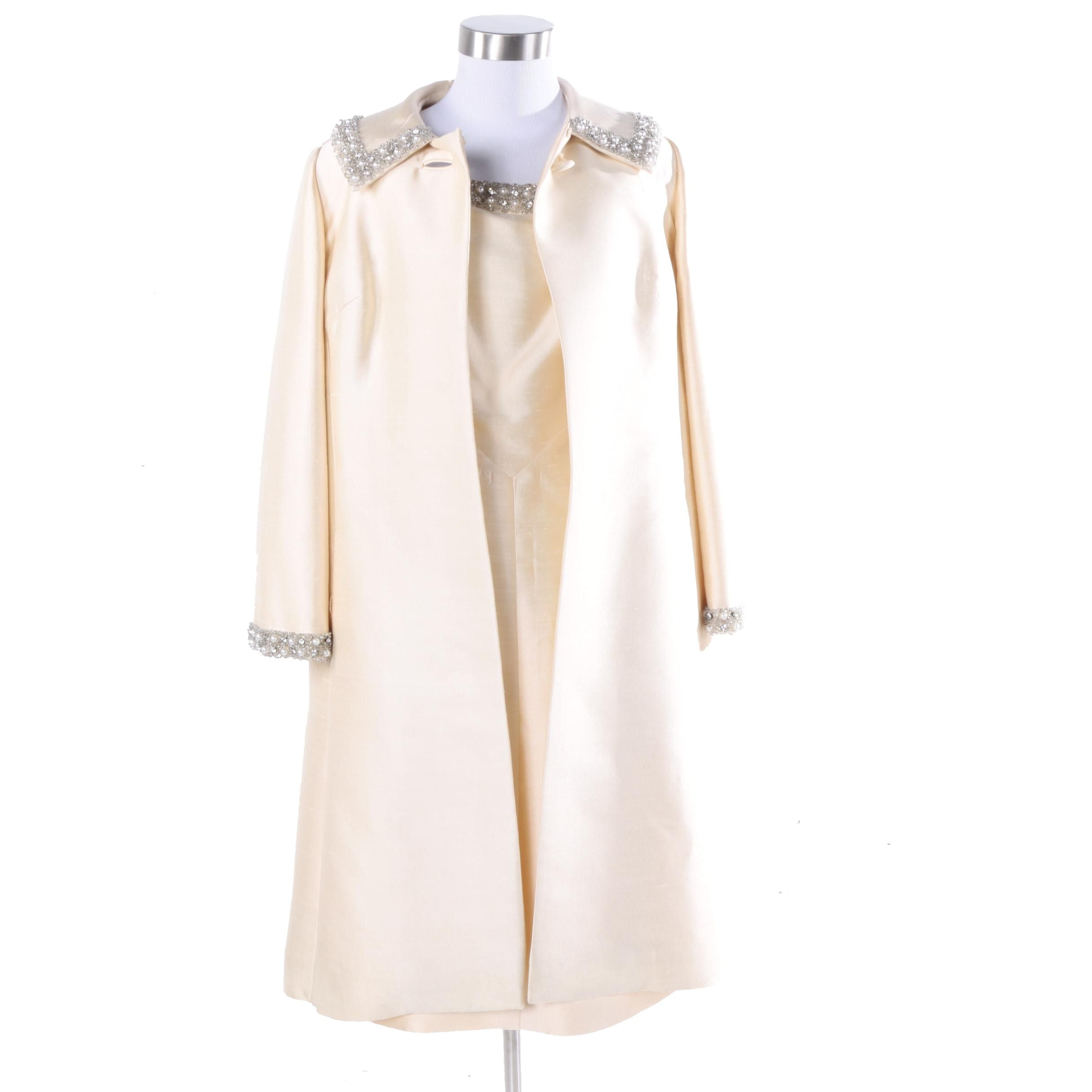 1960s Nat Allen Ivory Silk and Faux Pearl Beaded Cocktail Dress and Coat