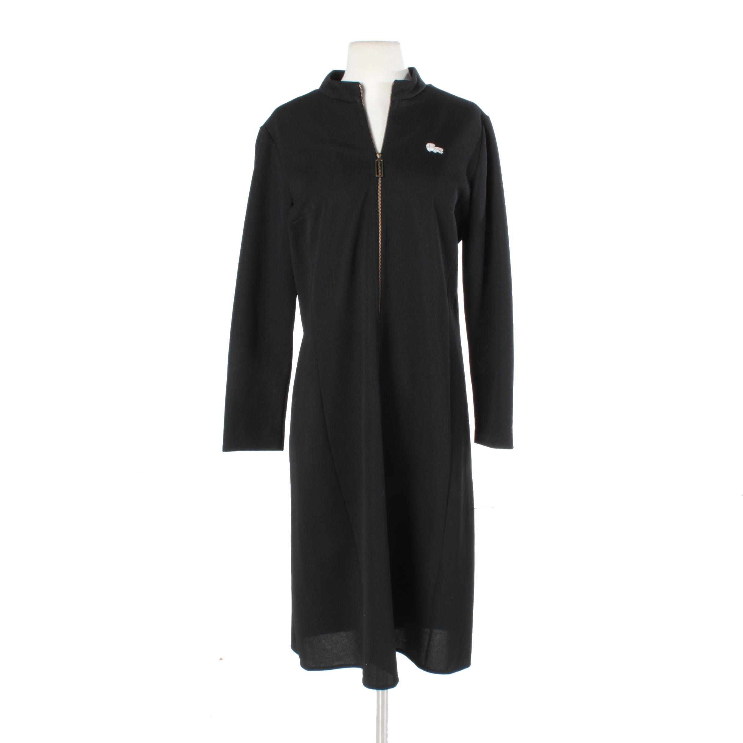 1960s Lacoste Black Zip Front Shift Dress