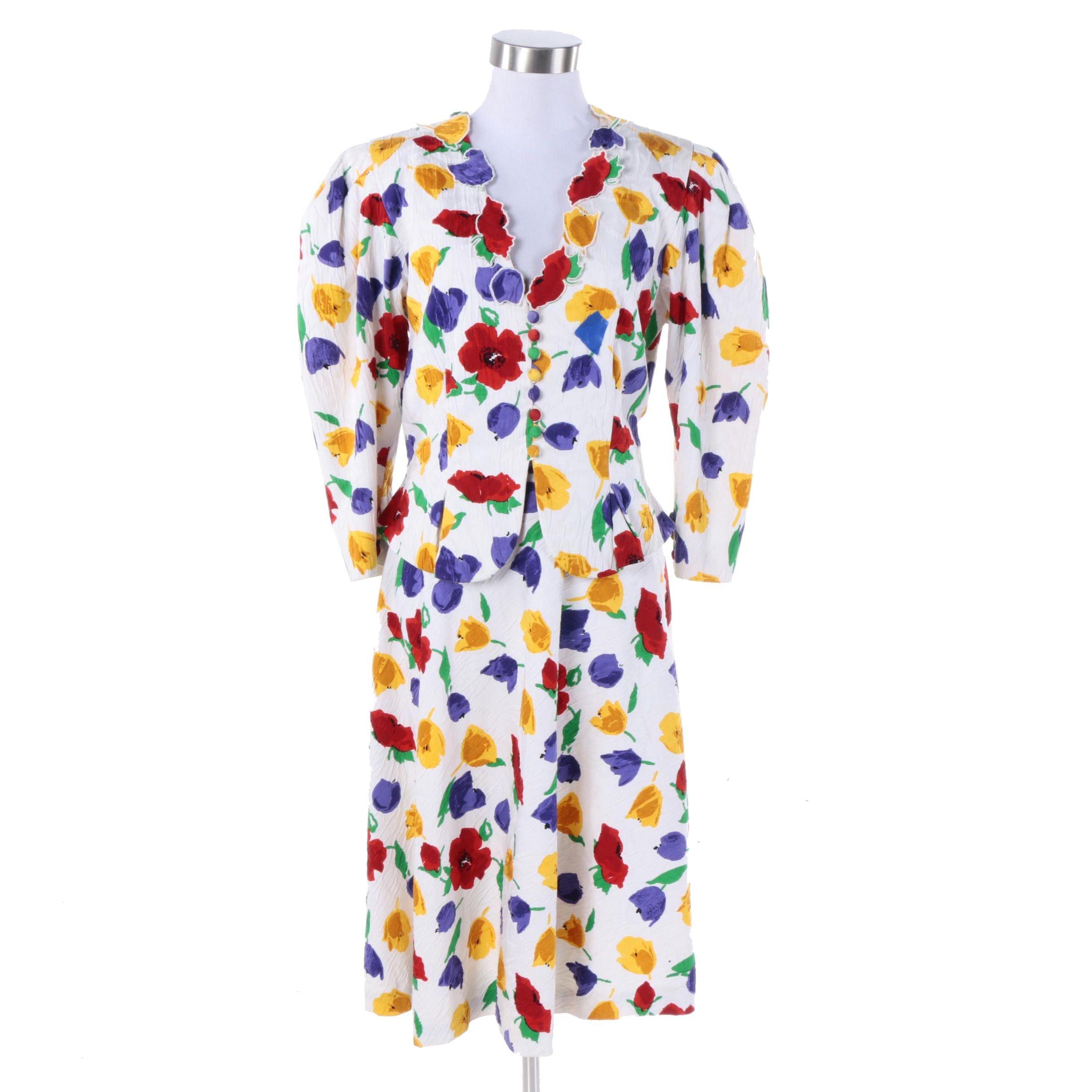 1980s Pauline Trigére Spring Floral Skirt Suit Set
