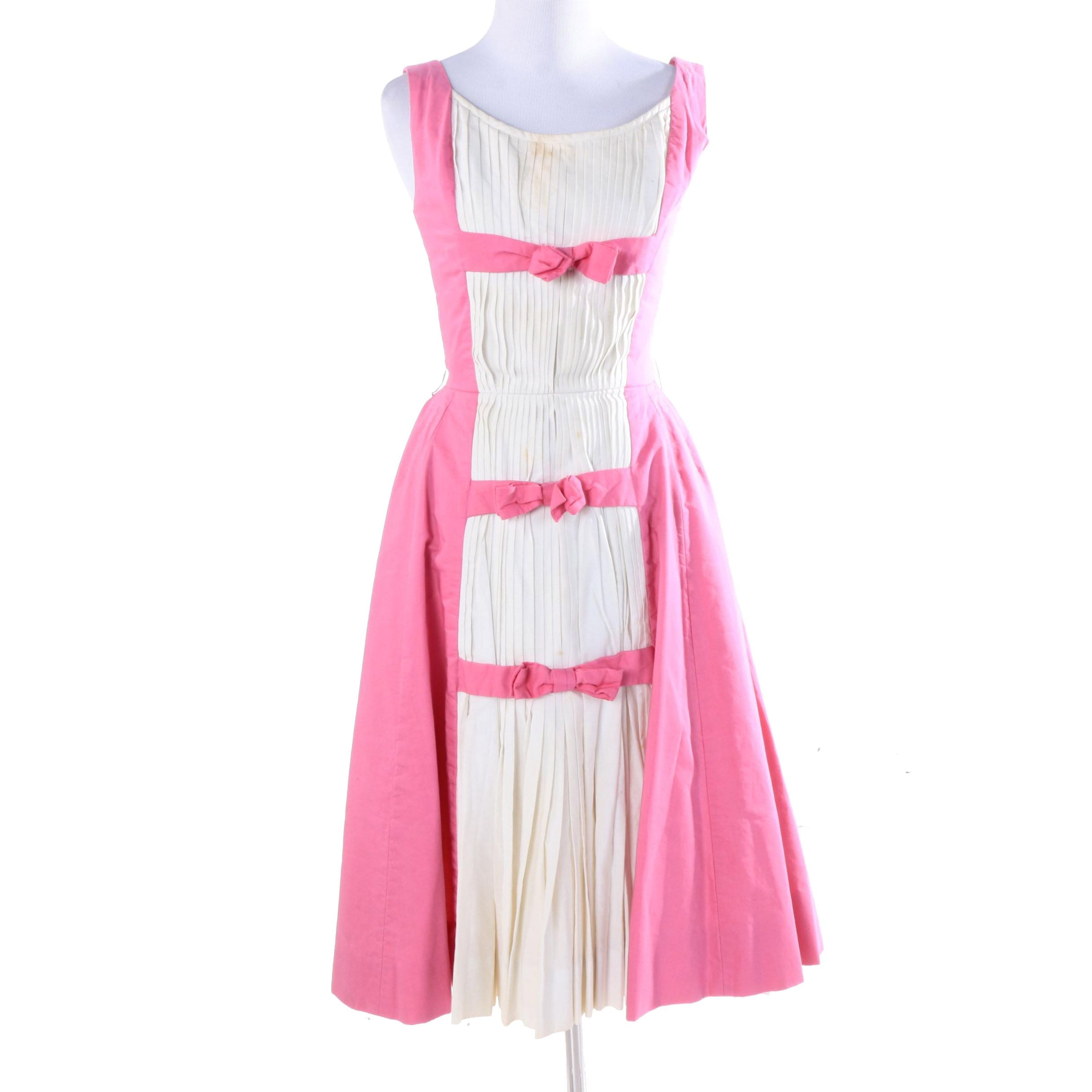 1950s Suzy Perette Pink and White Tea Dress