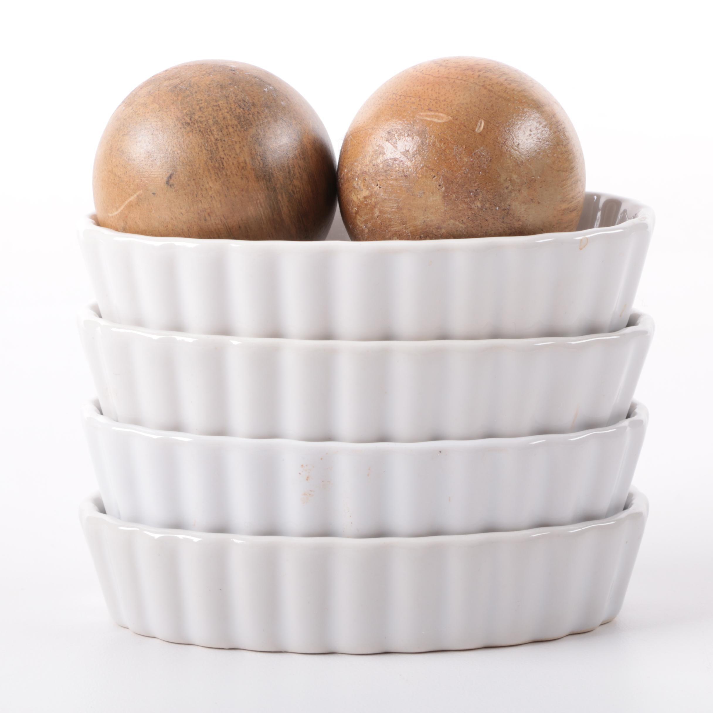 Oval Ramekins and Wooden Balls