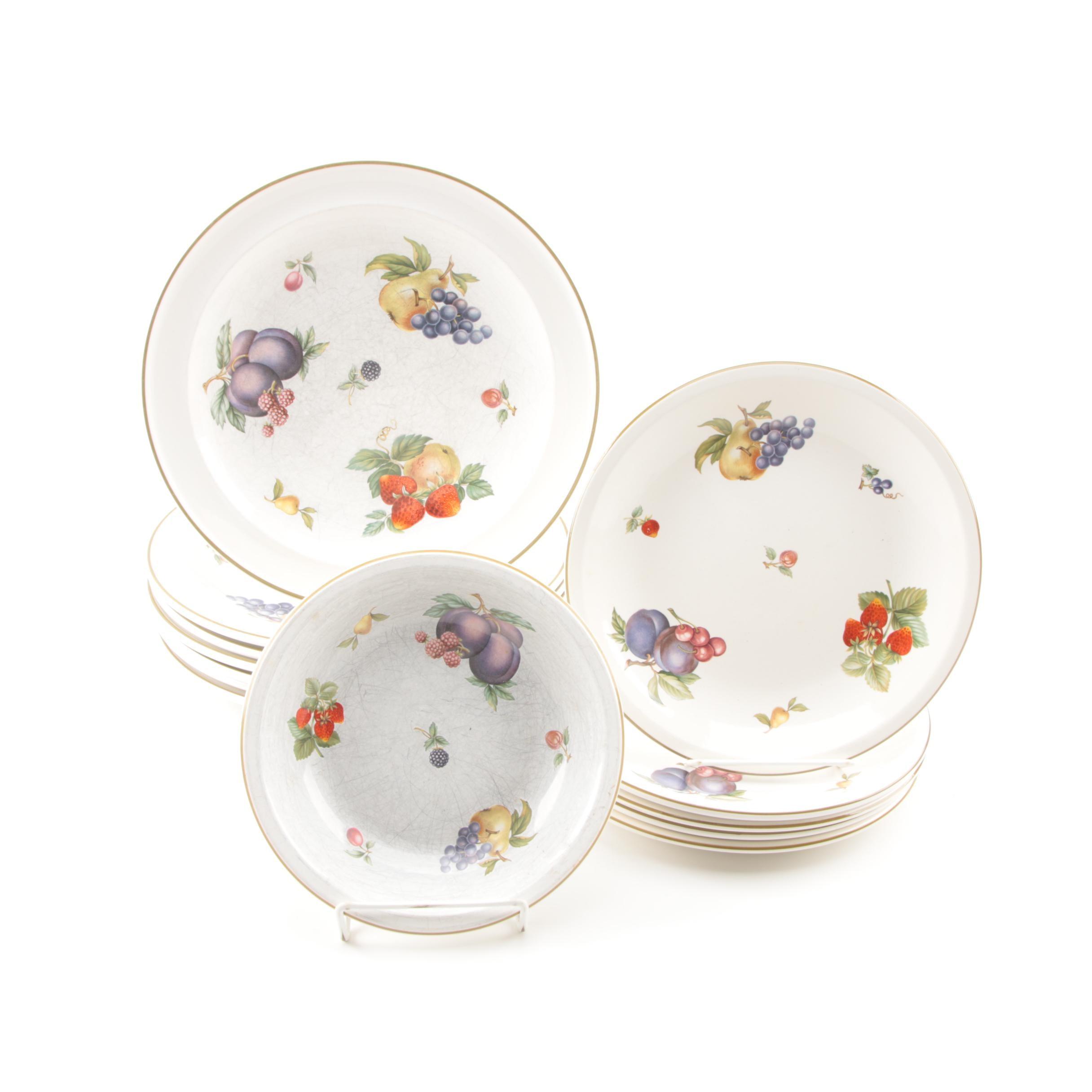 "Wedgwood ""Fruit Sprays"" Porcelain Plates and Bowl"