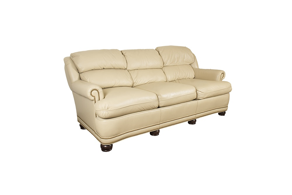 Cream Leather Sofa by Whittemore-Sherrill