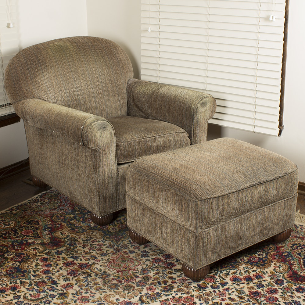 Tan Upholstered Easy Chair with Footstool