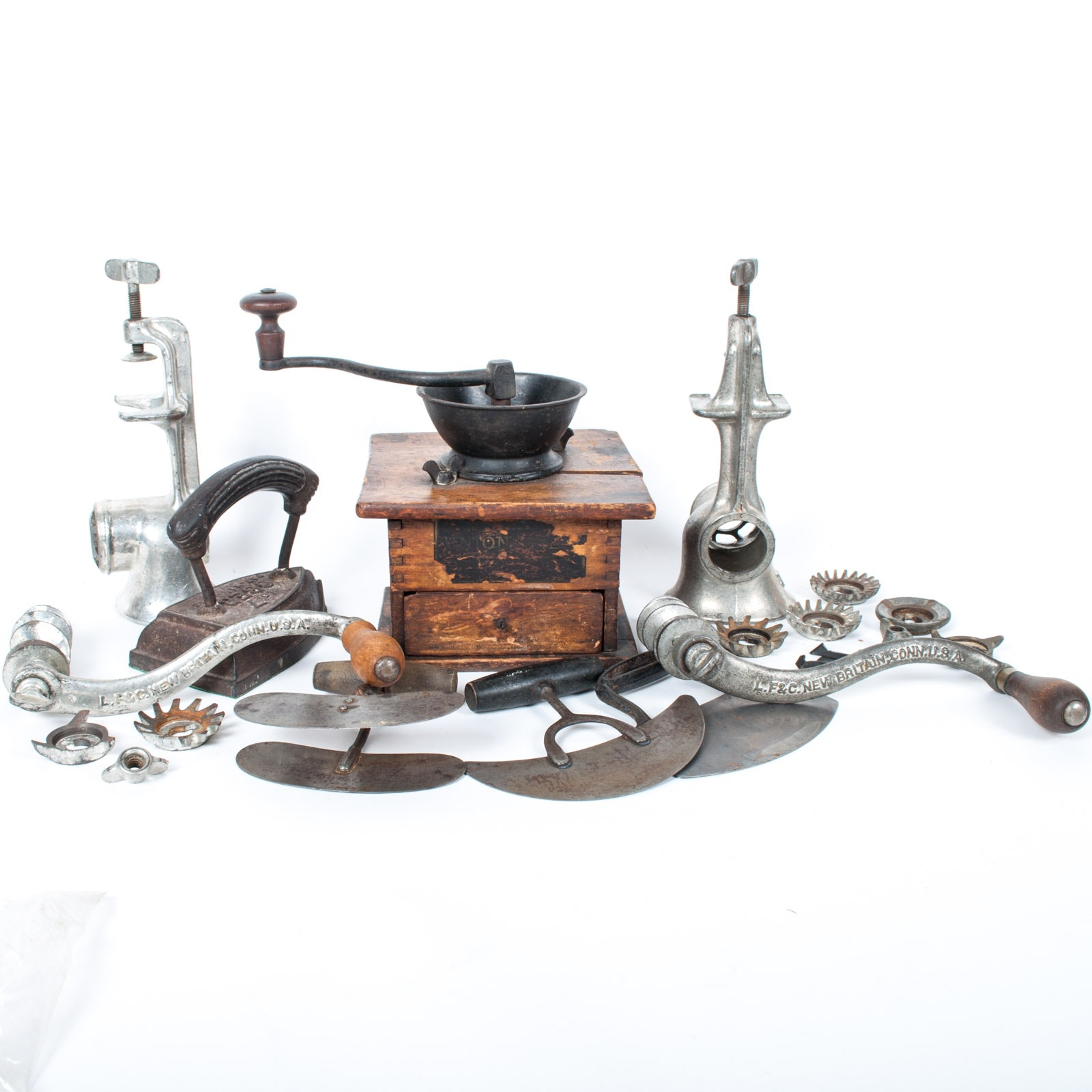 Antique Kitchenalia Assortment Featuring a Union Mill Coffee Mill