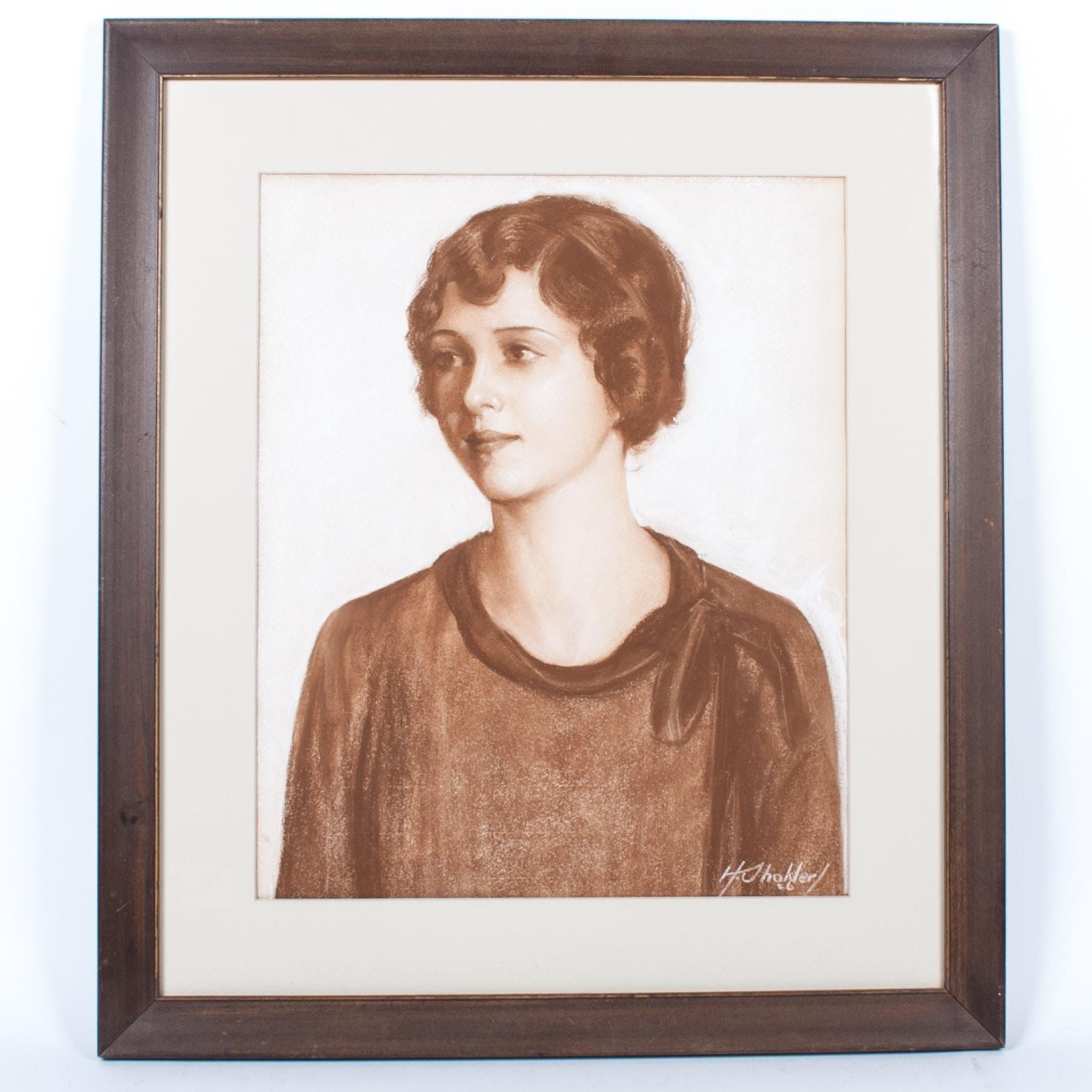 Harry Shokler 1926 Pastel on Paper Portrait of a Woman