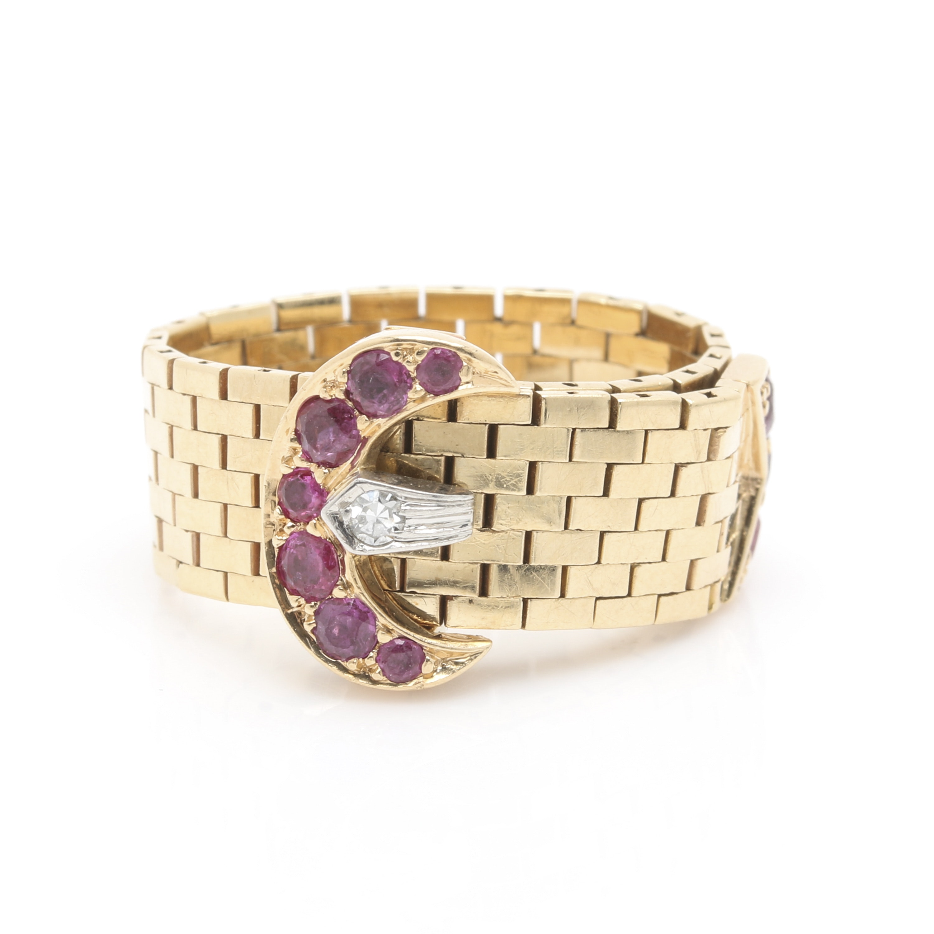 14K Yellow Gold Ruby and Diamond Belt Flex Chain Ring