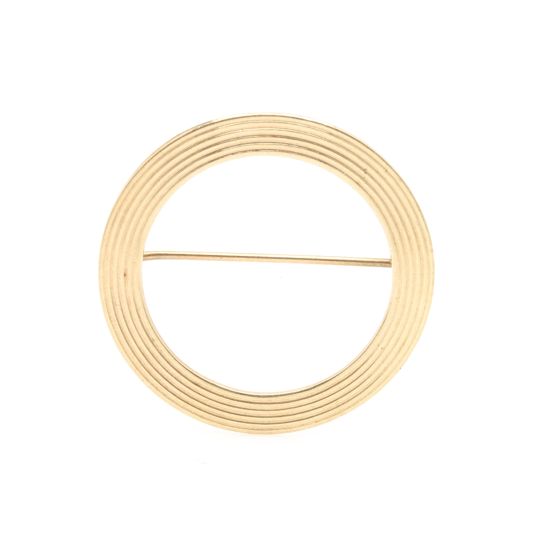 14K Yellow Gold Circle Brooch
