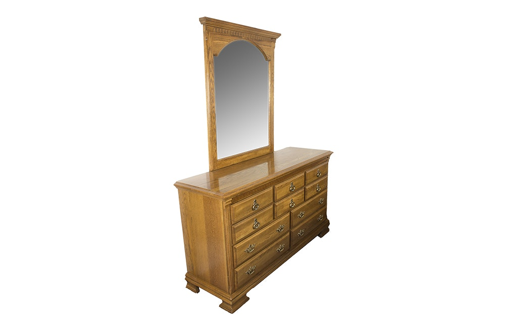Oak Chest of Drawers with Mirror by Kincaid