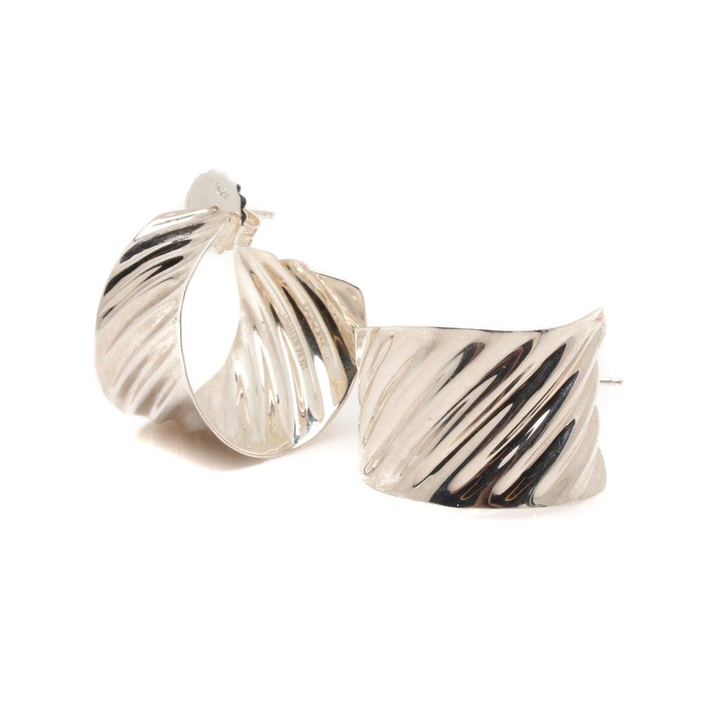 RLM Studios Sterling Silver Rippled Semi Circular Hoop Earrings