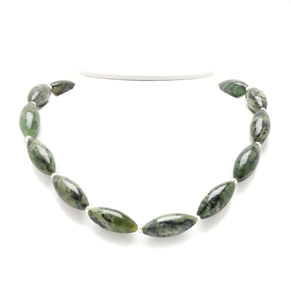 Sterling Silver Marquise Serpentine Beaded Necklace